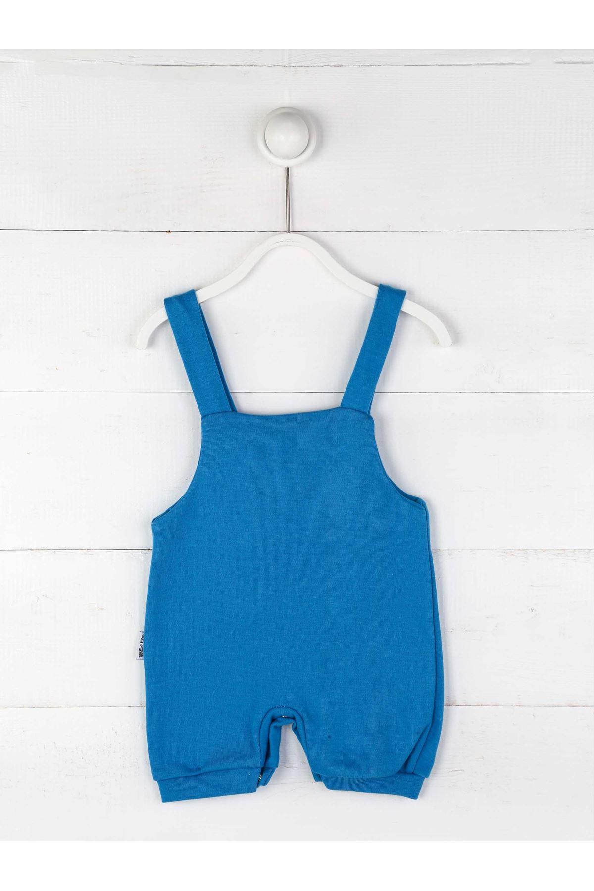 Mavi Yazlık Erkek Bebek Tulum
