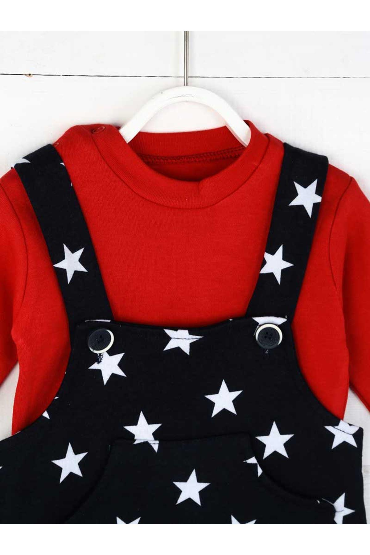 Kırmızı Erkek Bebek Salopet Tulum