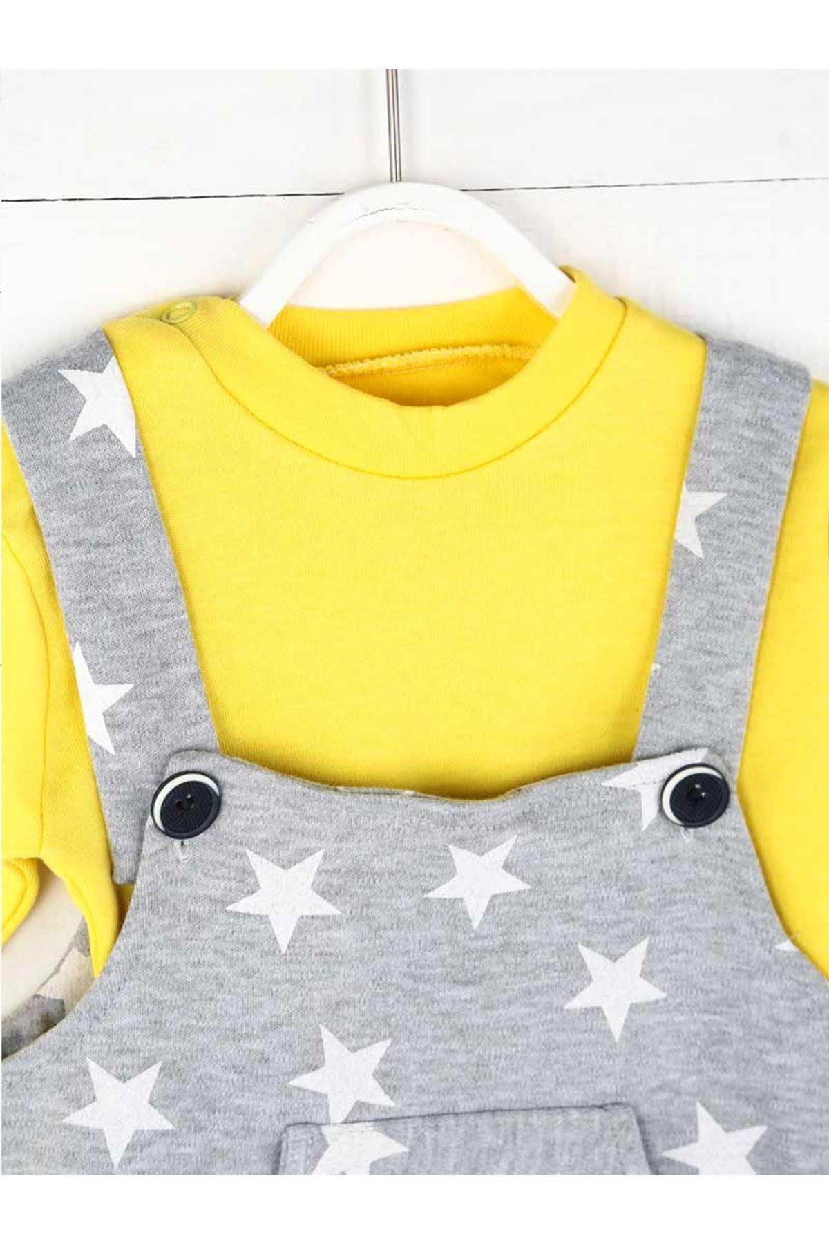 Sarı Erkek Bebek Salopet Tulum