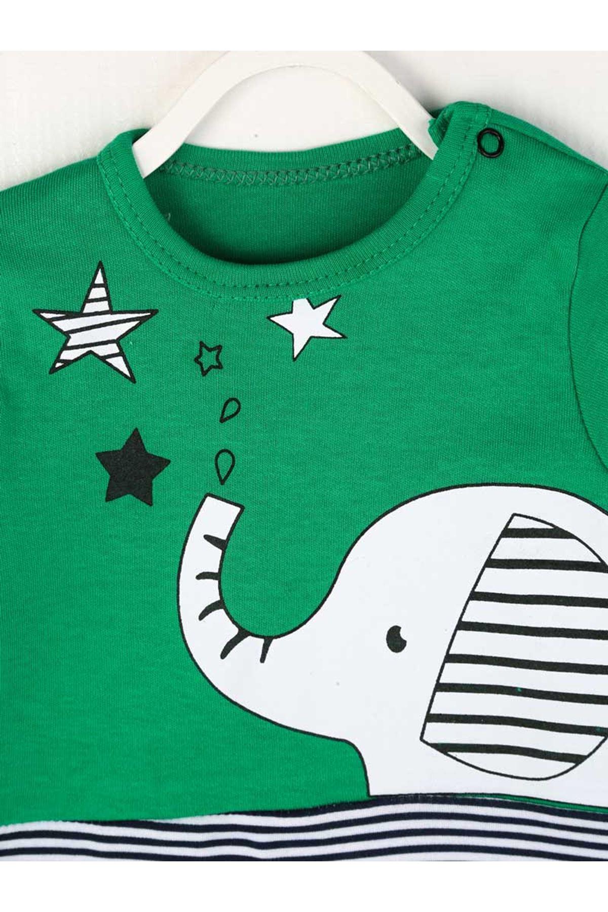 Yeşil Erkek Bebek Şapkalı Tulum