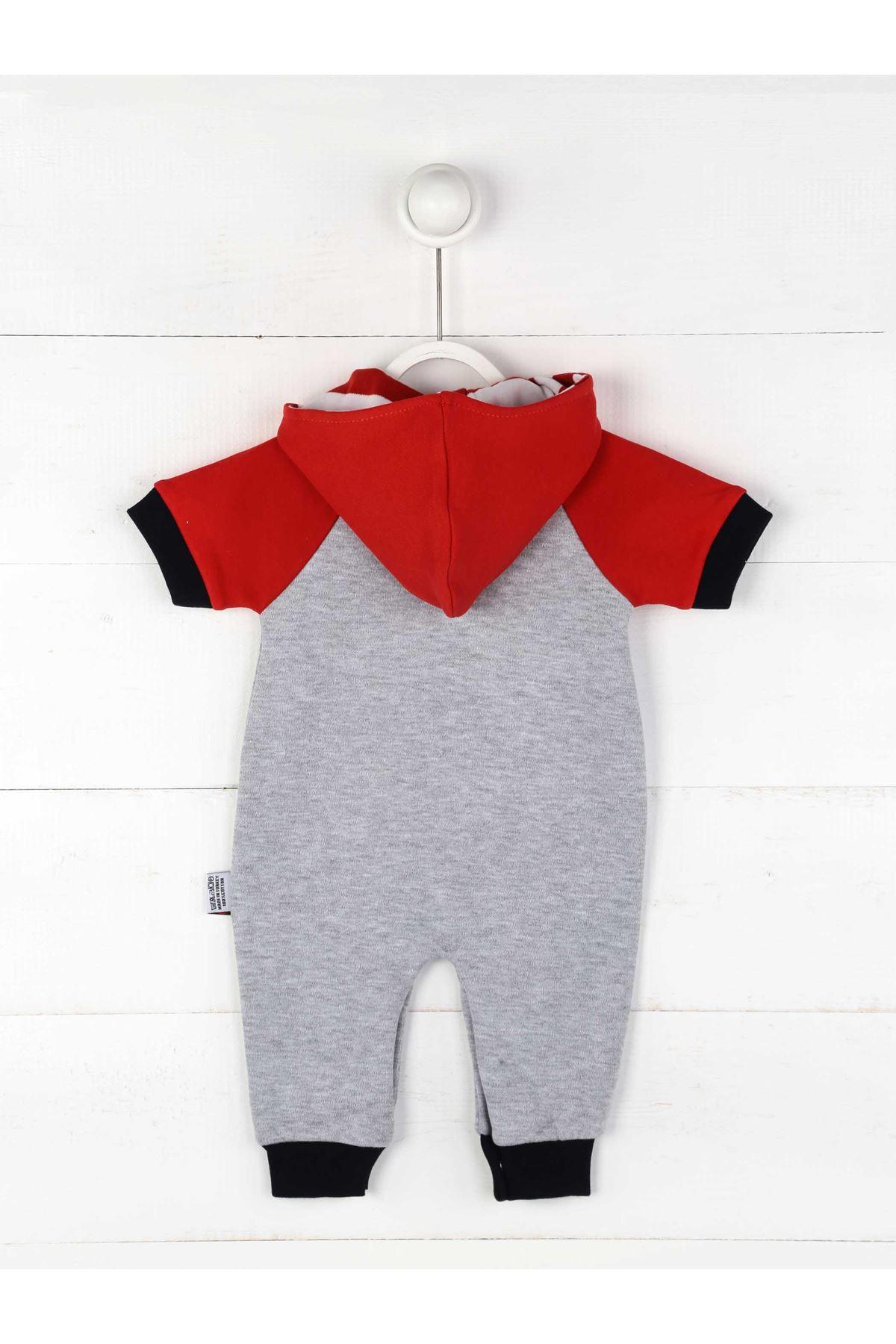 Kırmızı Yazlık Kapüşonlu Erkek Bebek Tulum