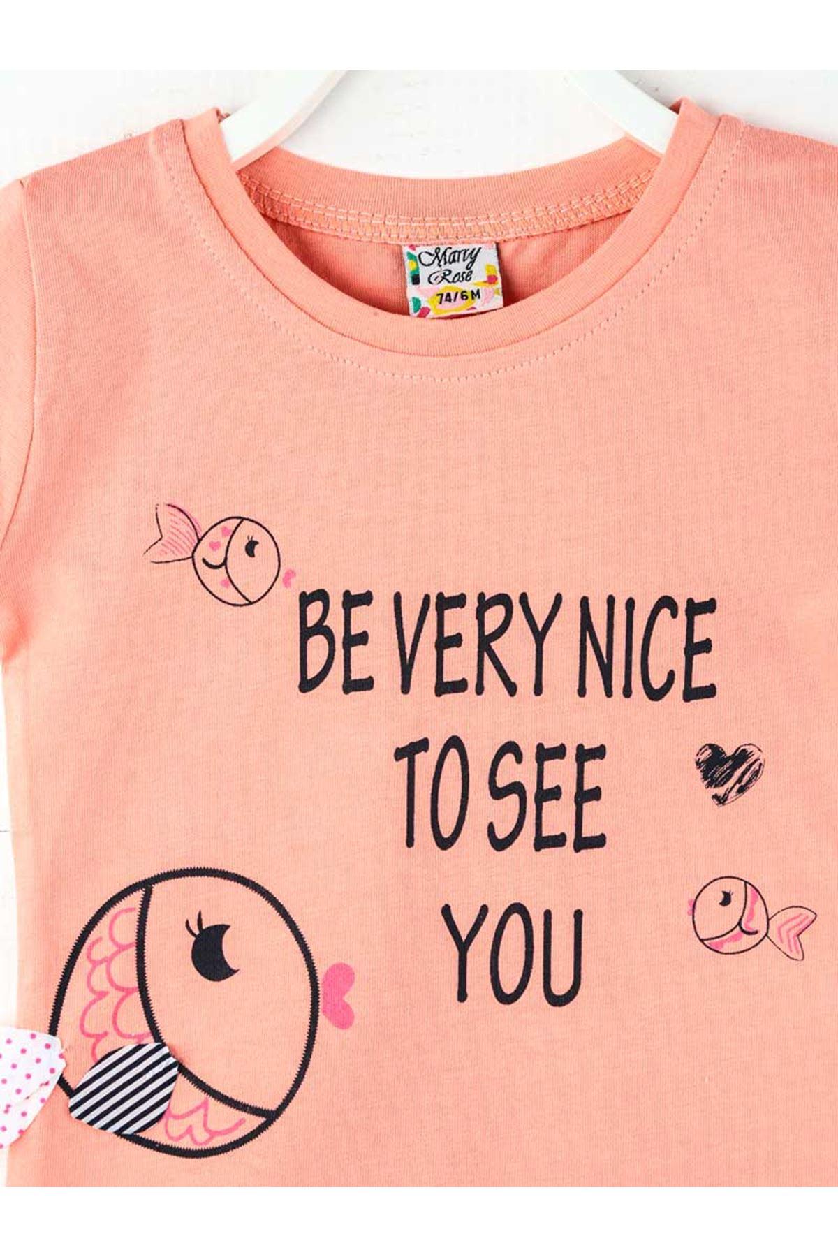 Pudra Pembesi Kız Bebek Kısakollu Tişört