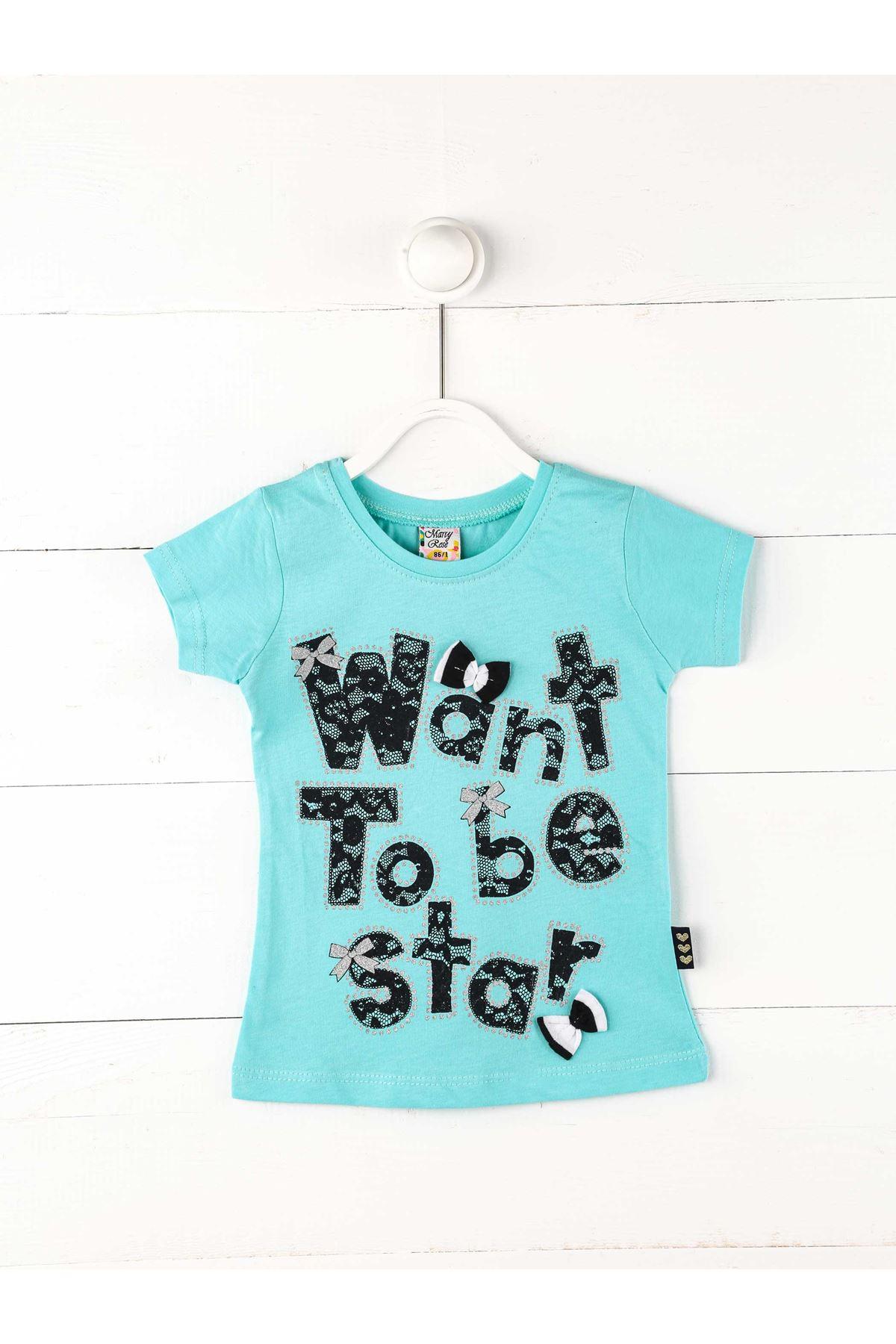 Yeşil Kız Çocuk Kısakollu Tişört