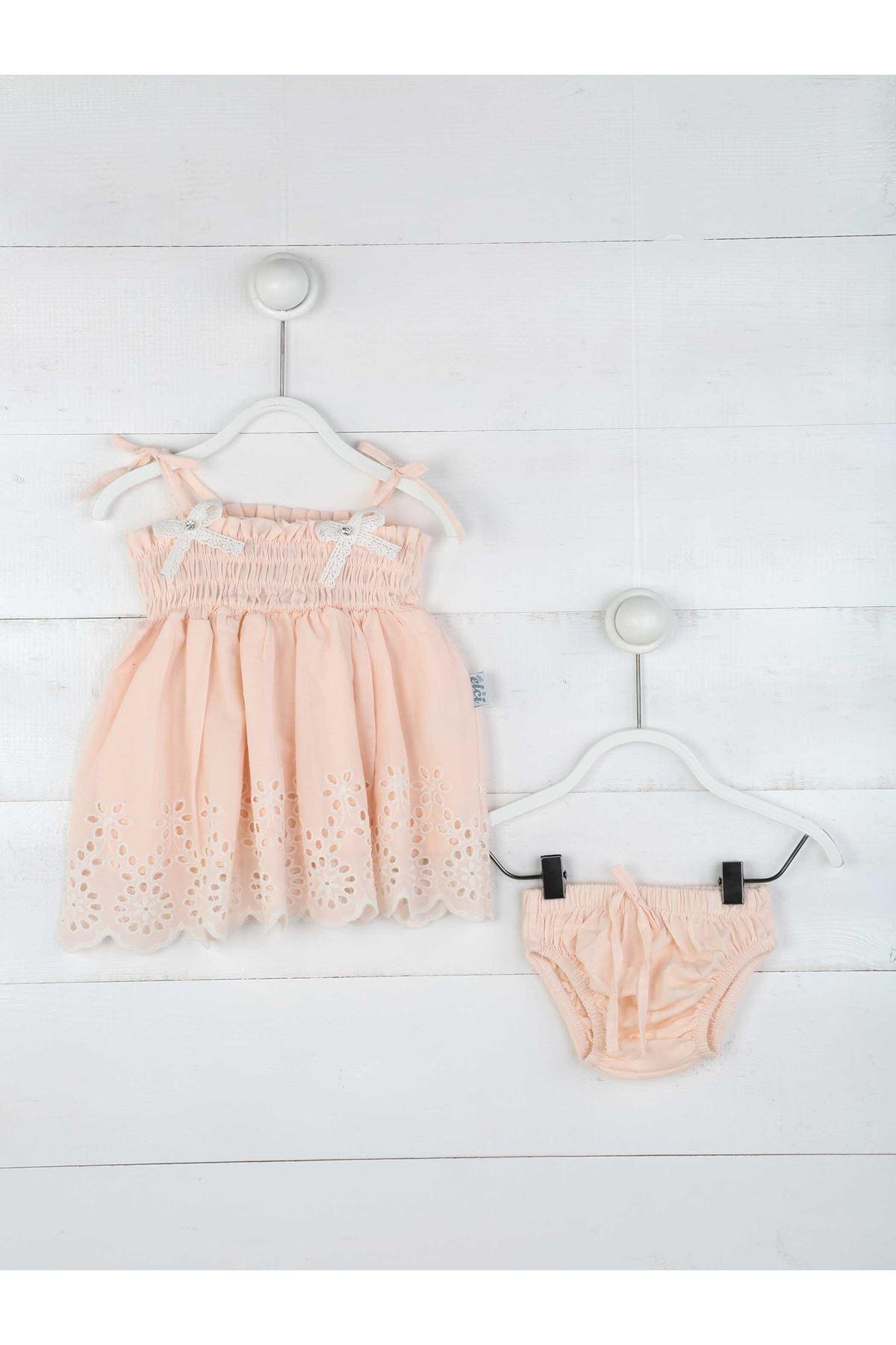 Pudra Yazlık Kız Bebek Elbise ve Külot