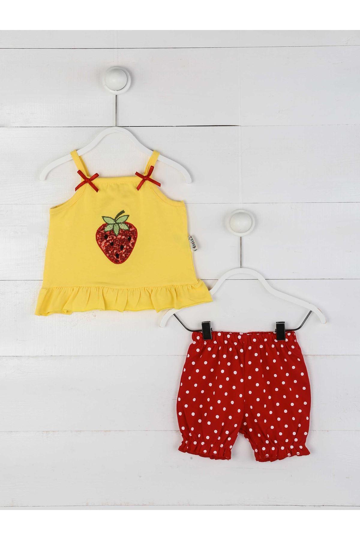 Sarı Yazlık Kız Bebek Şortlu Takım