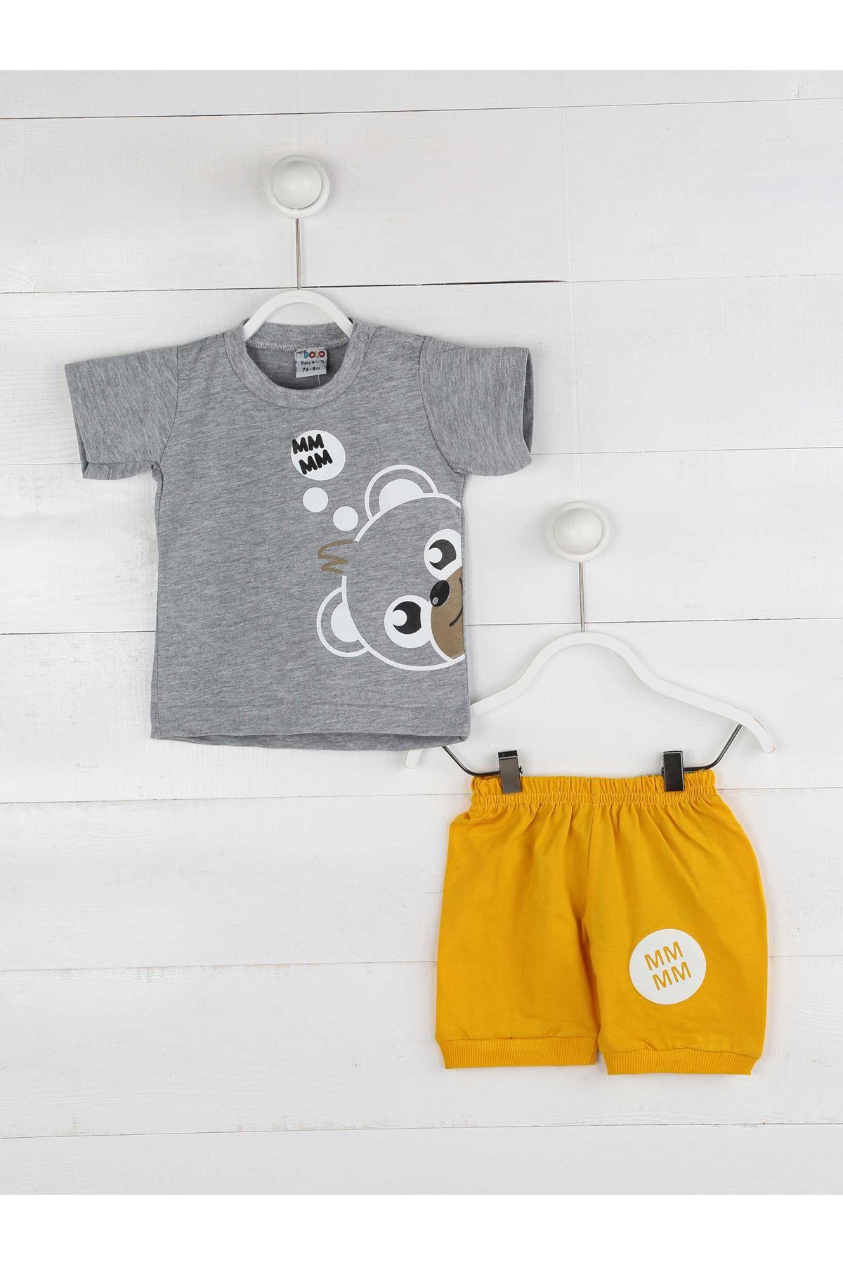 Gri Yazlık Erkek Bebek Şortlu Takım