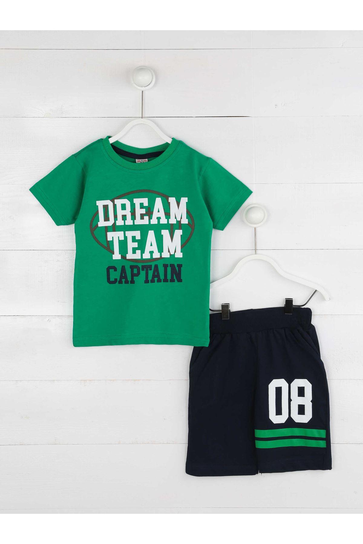 Yeşil Yazlık Erkek Çocuk Şortlu Takım