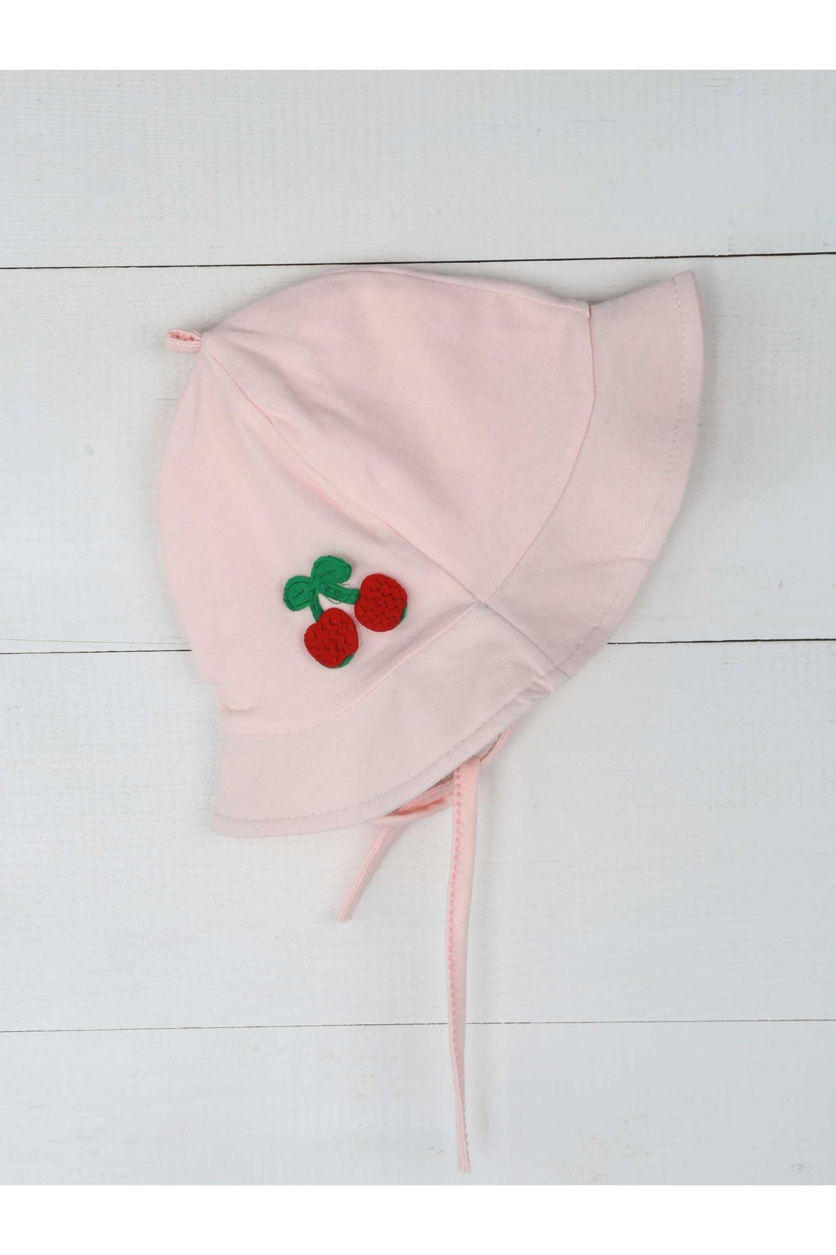 Pembe Yazlık İp Askılı Kız Bebek Şapka ve Tulum