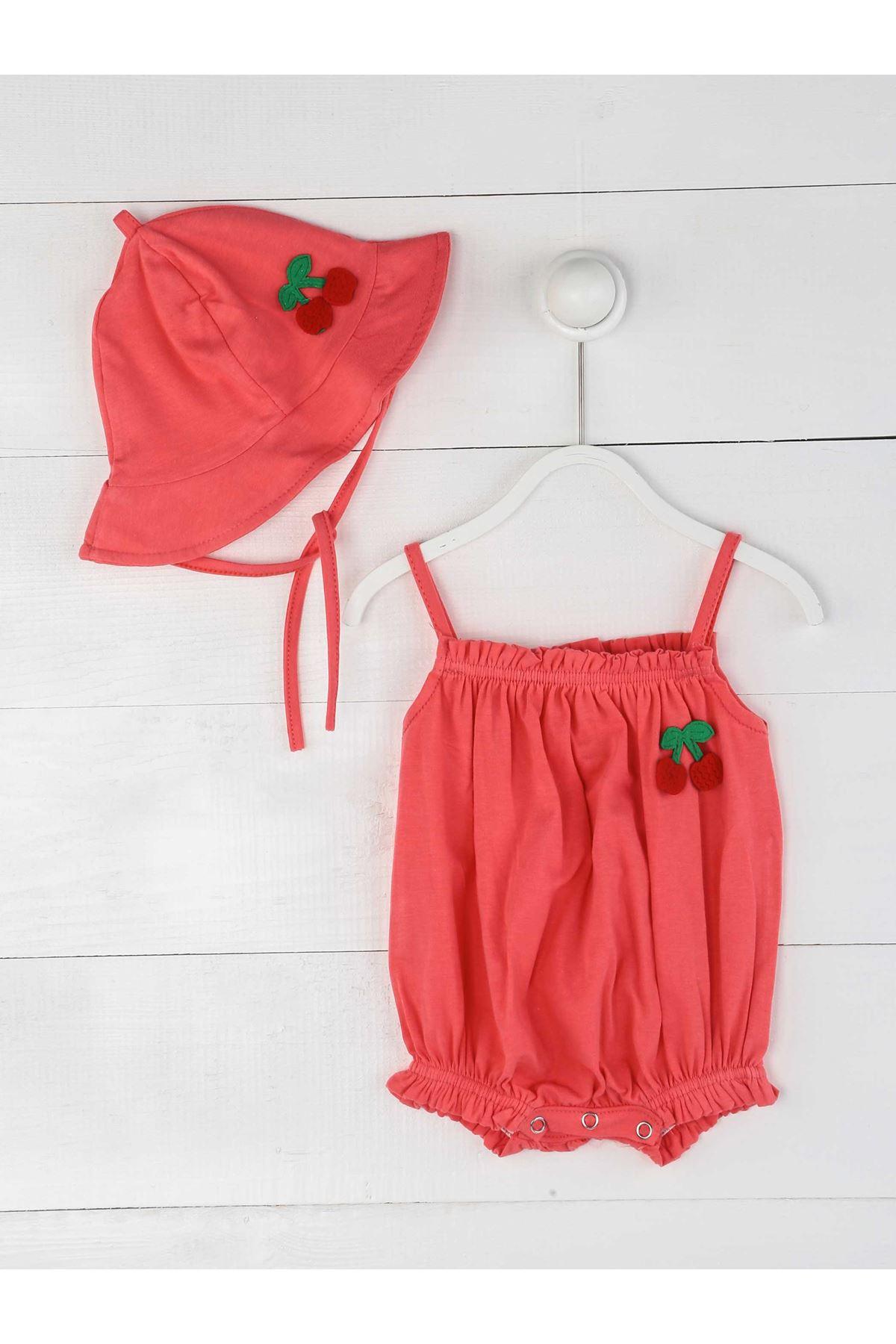 Narçiçeği Yazlık İp Askılı Kız Bebek Şapka ve Tulum