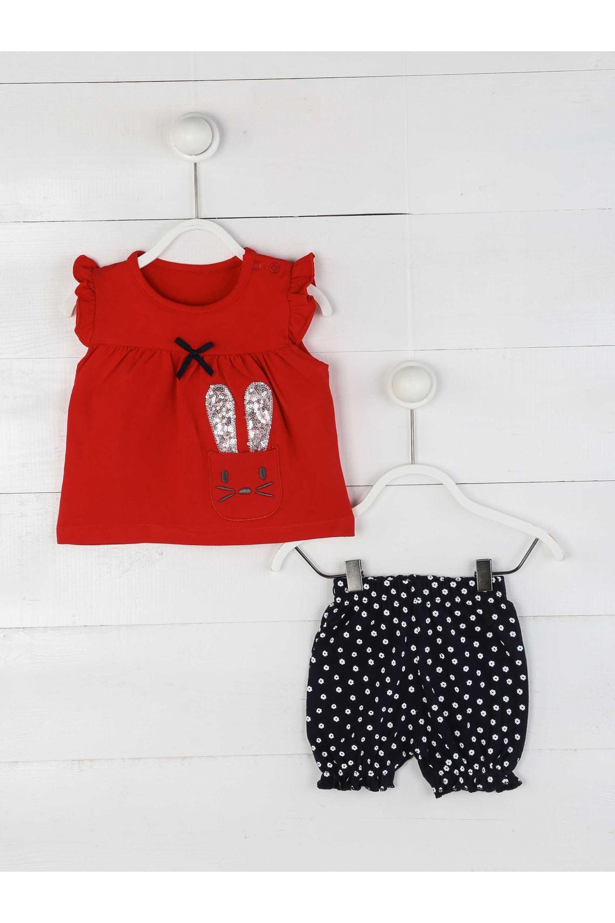 Kırmızı Yazlık Kız Bebek Şortlu Takım