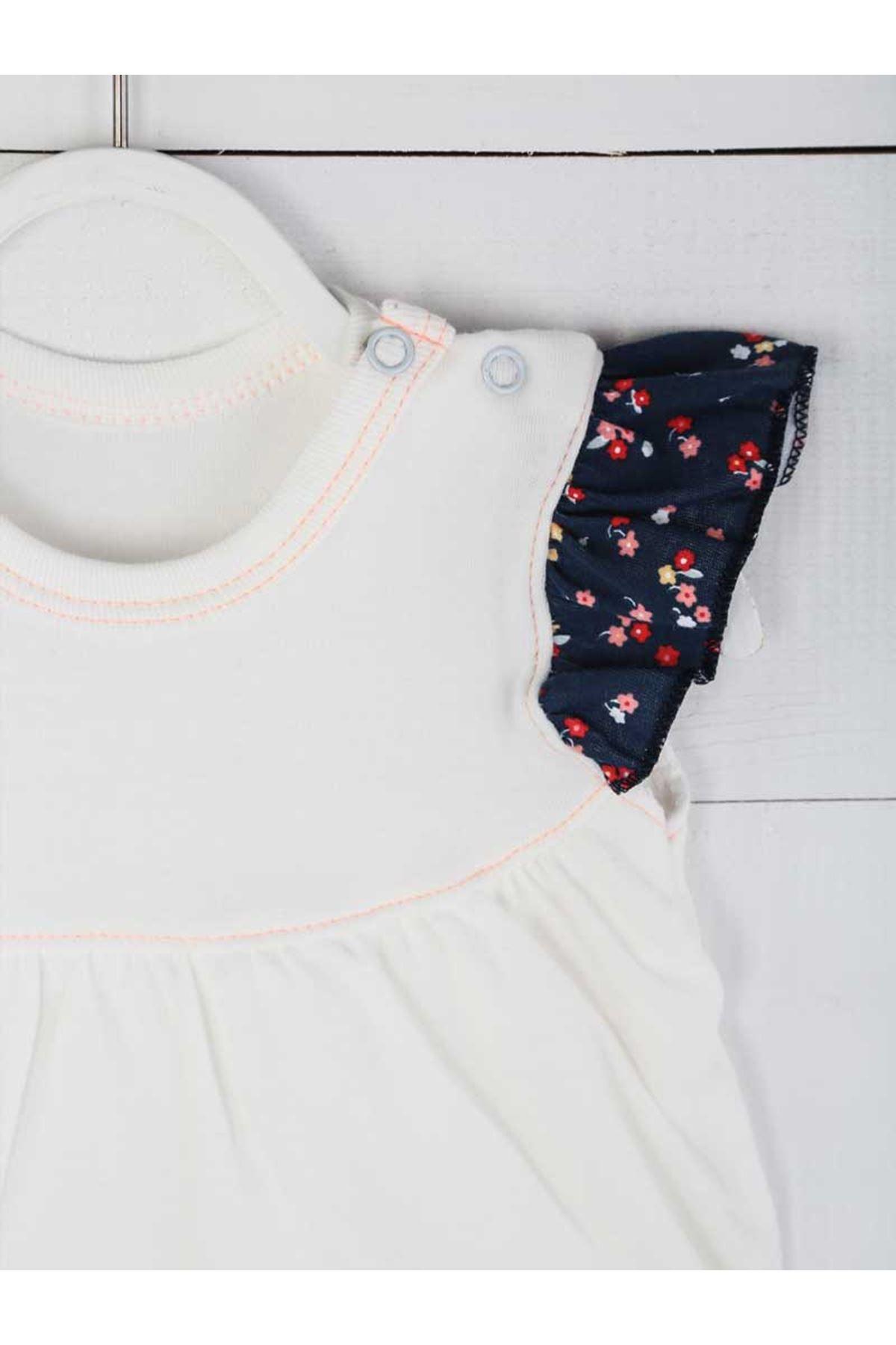 Beyaz Yazlık Kız Bebek Badili Elbise