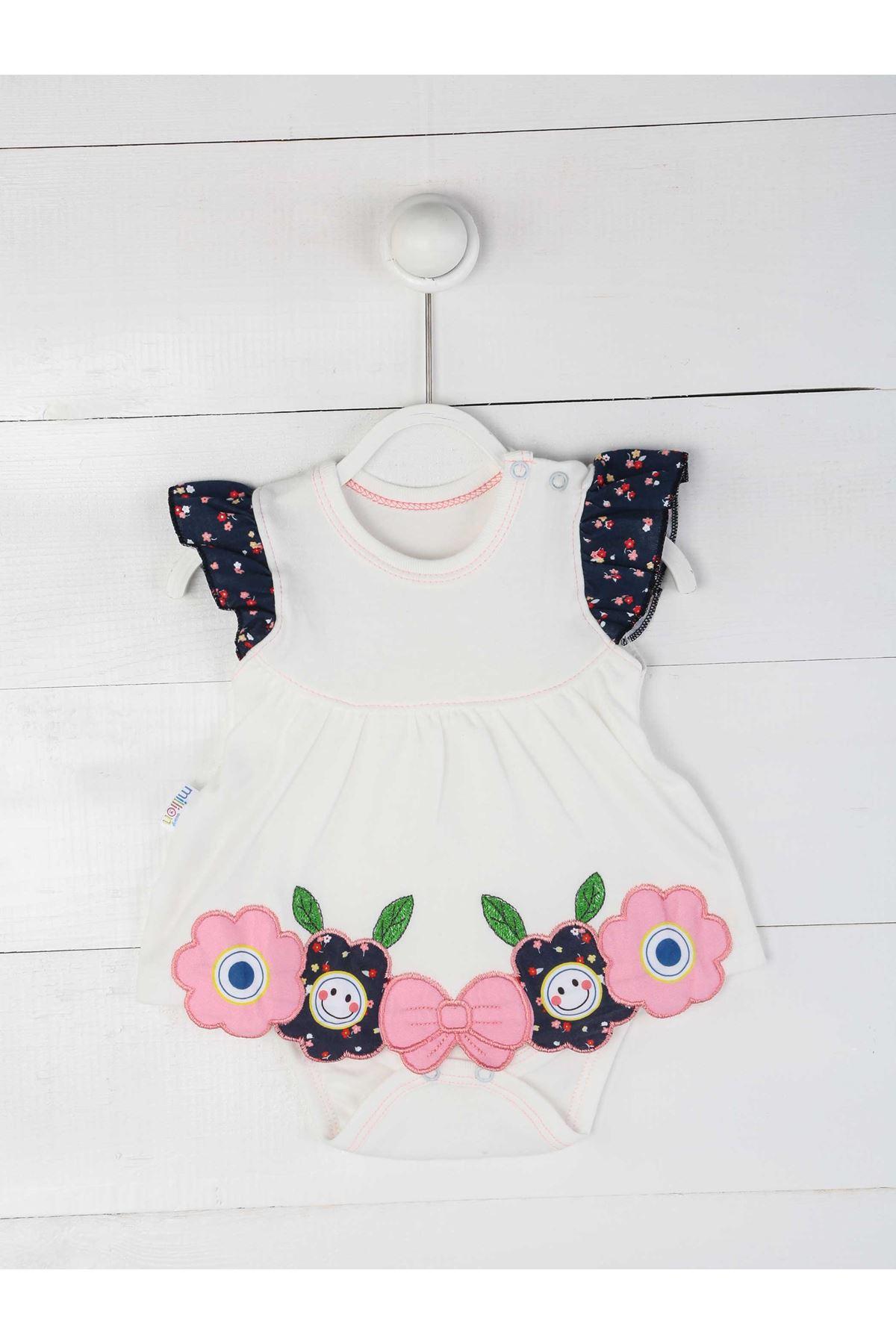 Pembe Yazlık Kız Bebek Badili Elbise