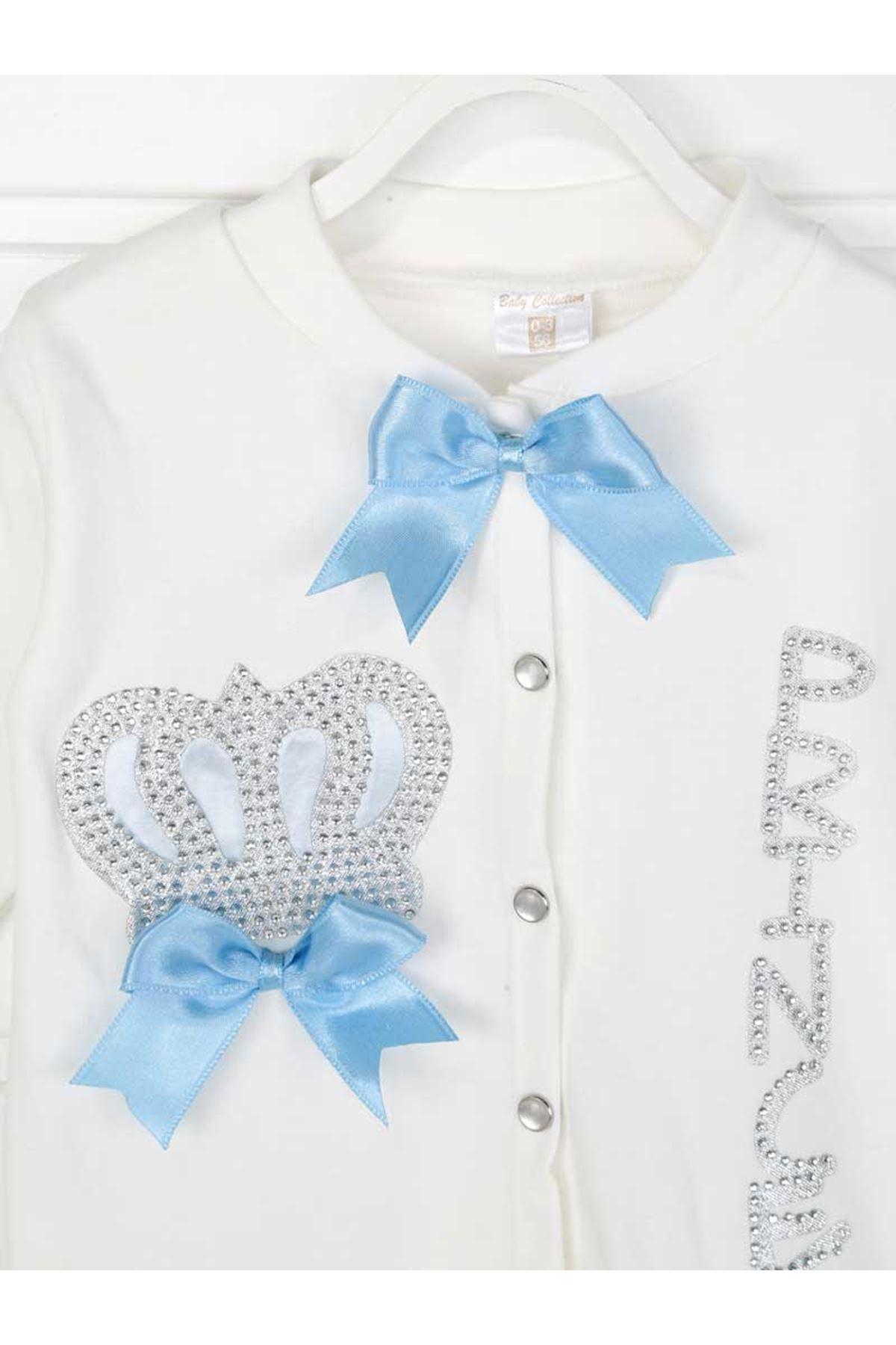 Mavi Kral Taçlı Prens Erkek Bebek 4 lü Tulum