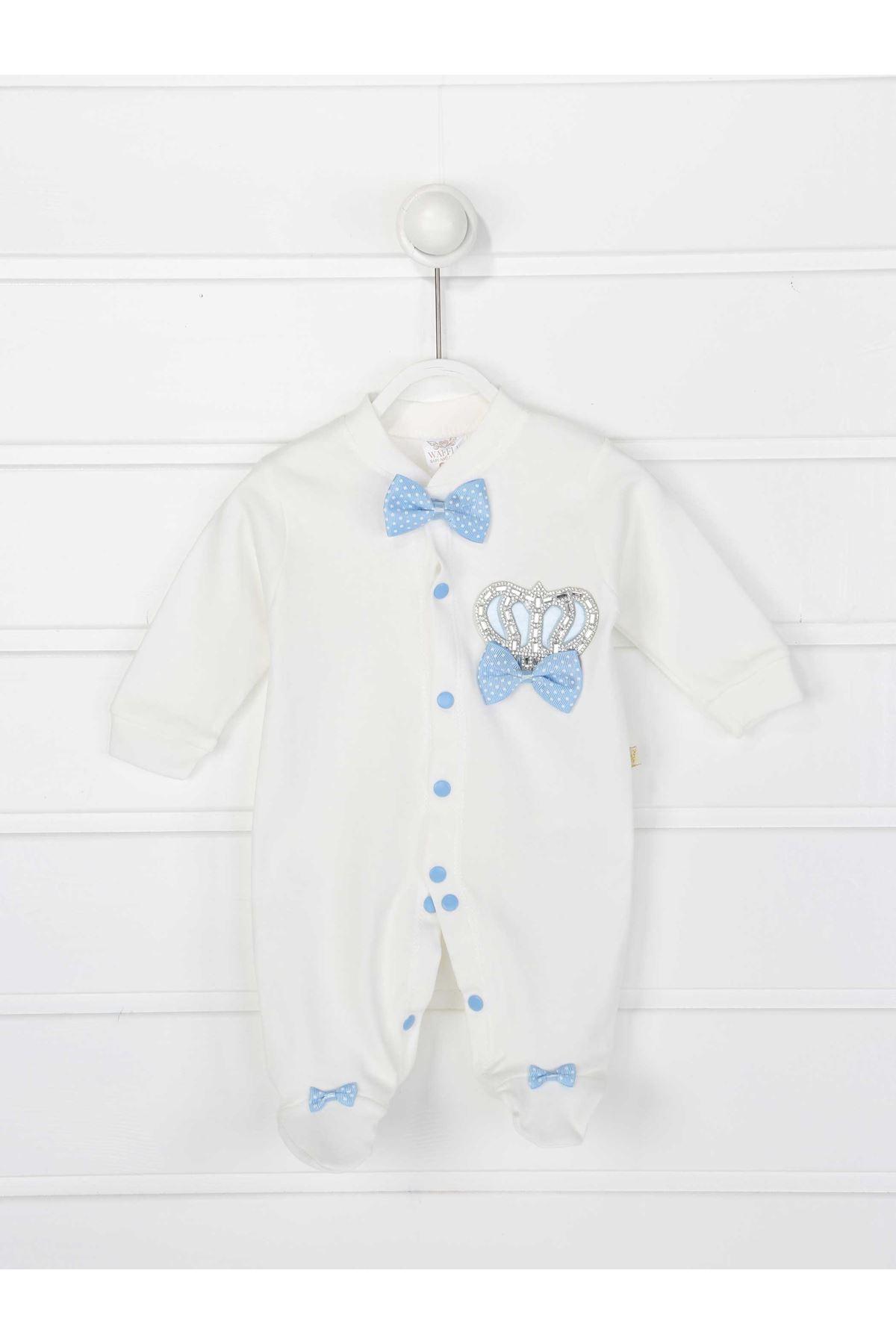 Mavi Kral Taçlı Erkek Bebek 3 lü Tulum