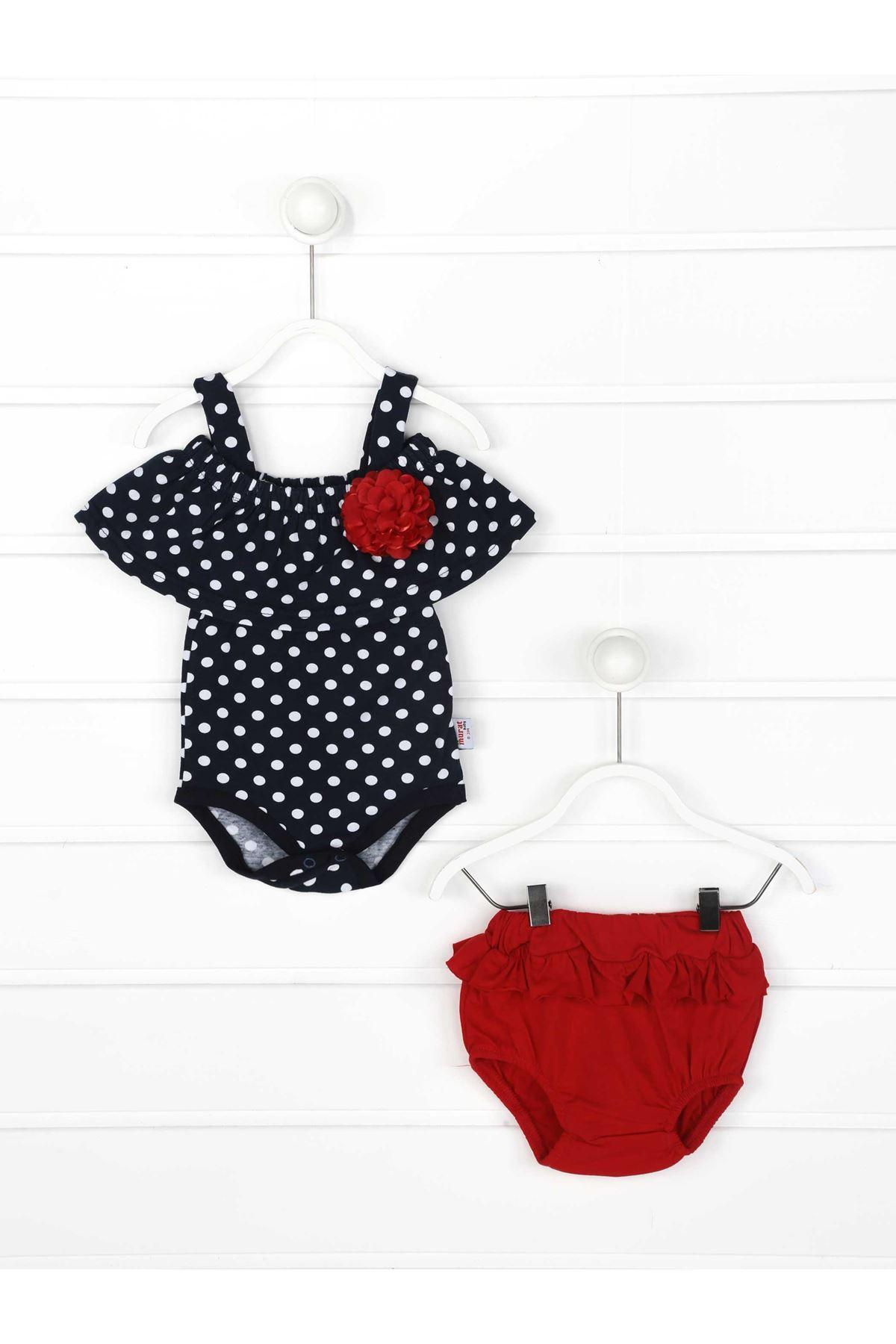 Kırmızı Yazlık Kız Bebek Külot ve Tulum