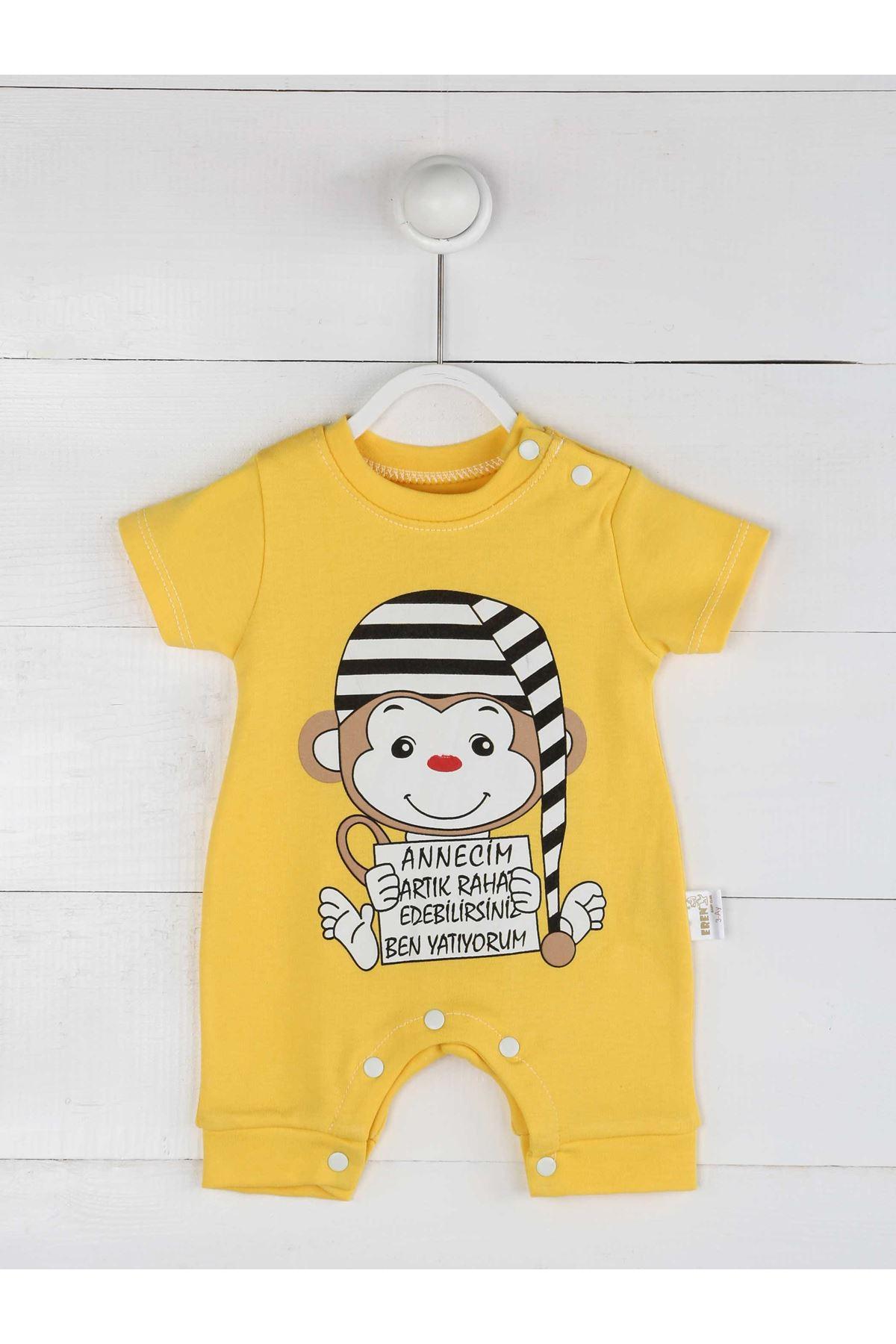 Sarı Yazlık Kız Bebek Tulum