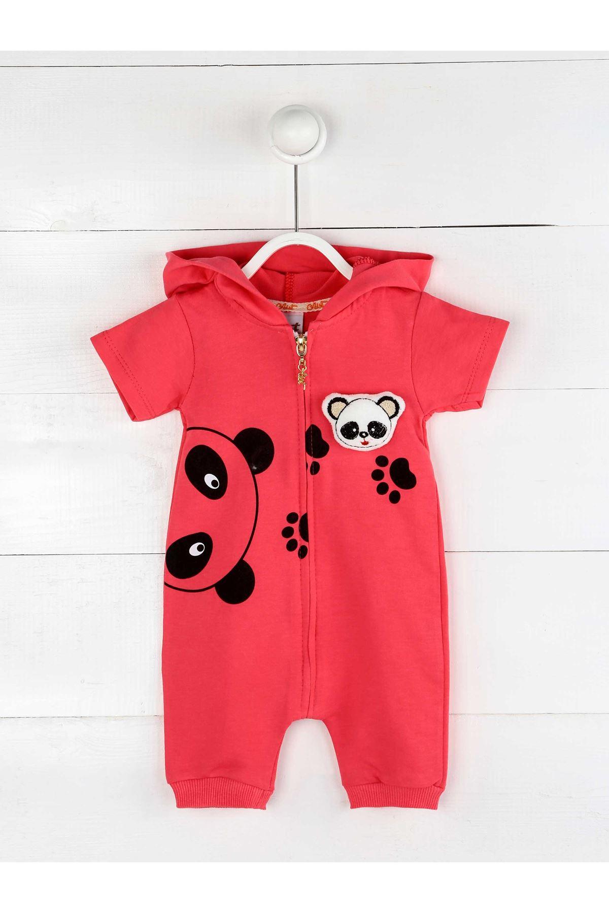 Narçiçeği Yazlık Kız Bebek Panda Kulaklı Tulum