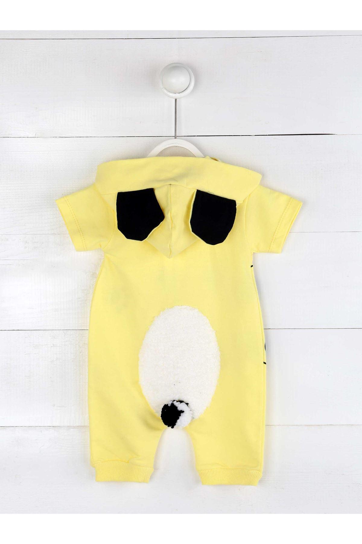 Sarı Yazlık Erkek Bebek Panda Kulaklı Tulum