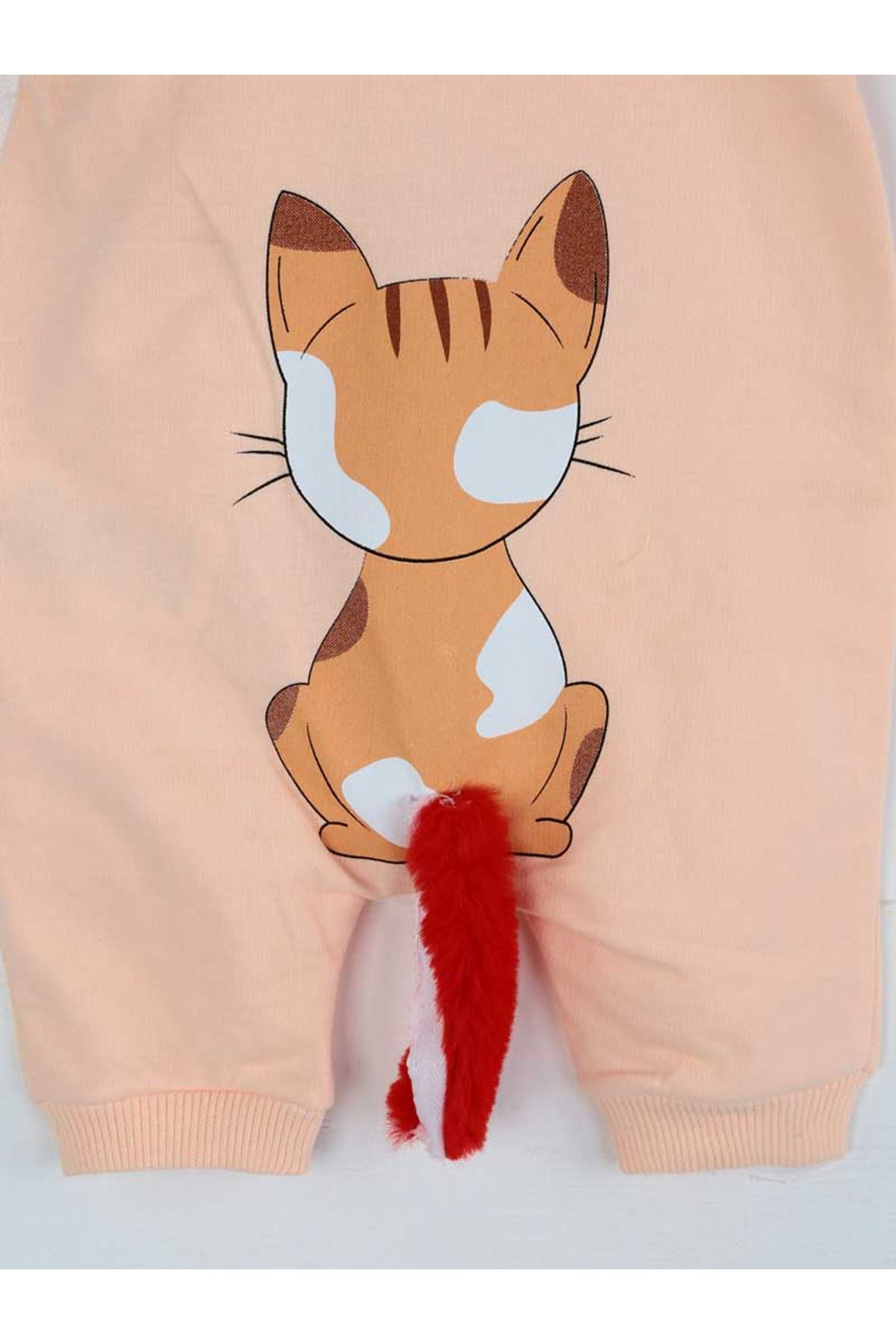 Pudra Yazlık Kız Bebek Kedi Kulaklı Tulum
