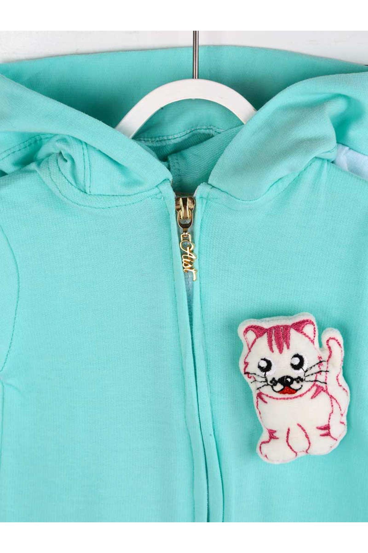 Yeşil Yazlık Erkek Bebek Kedi Kulaklı Tulum