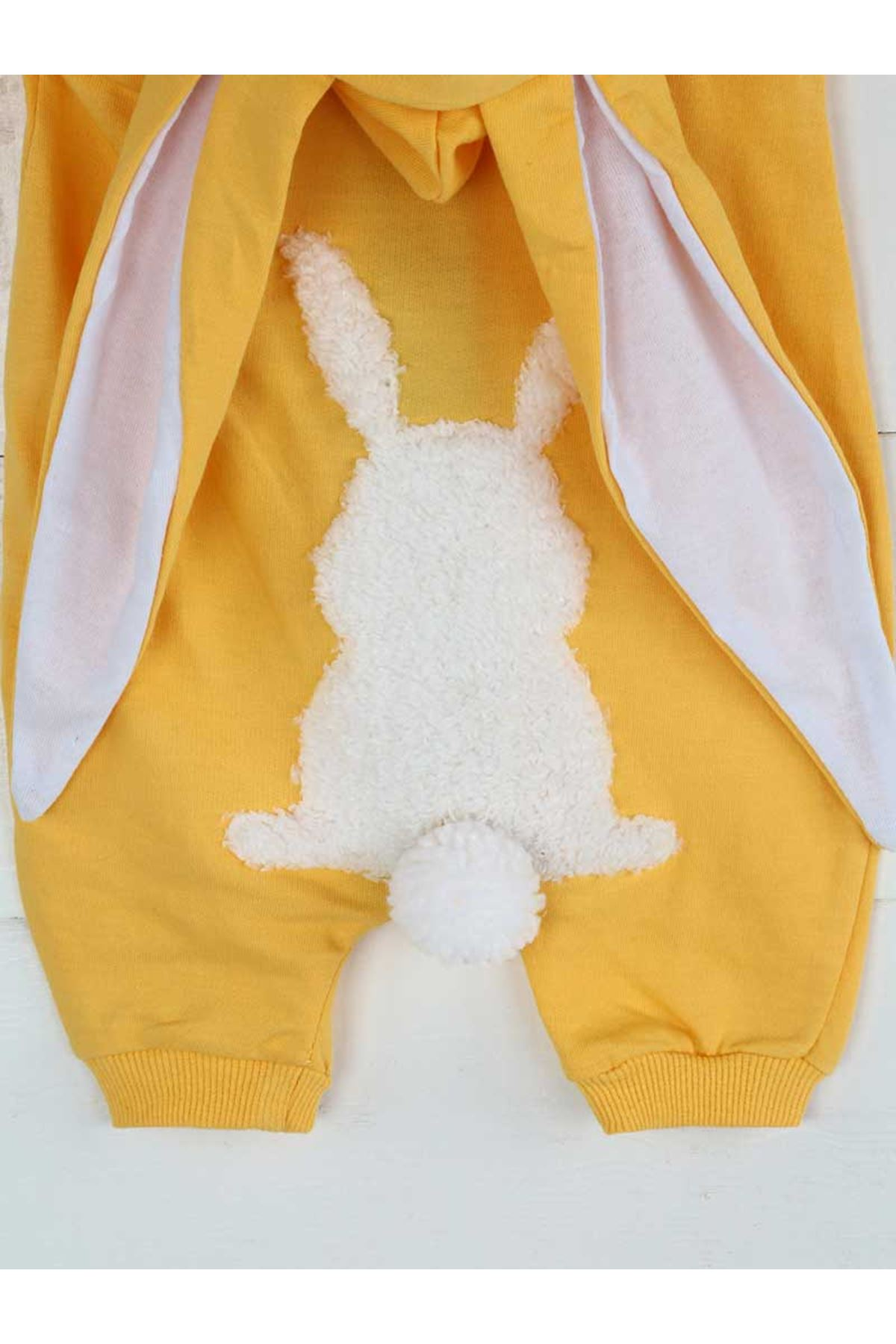 Sarı Yazlık Erkek Bebek Tavşan Kulaklı Tulum