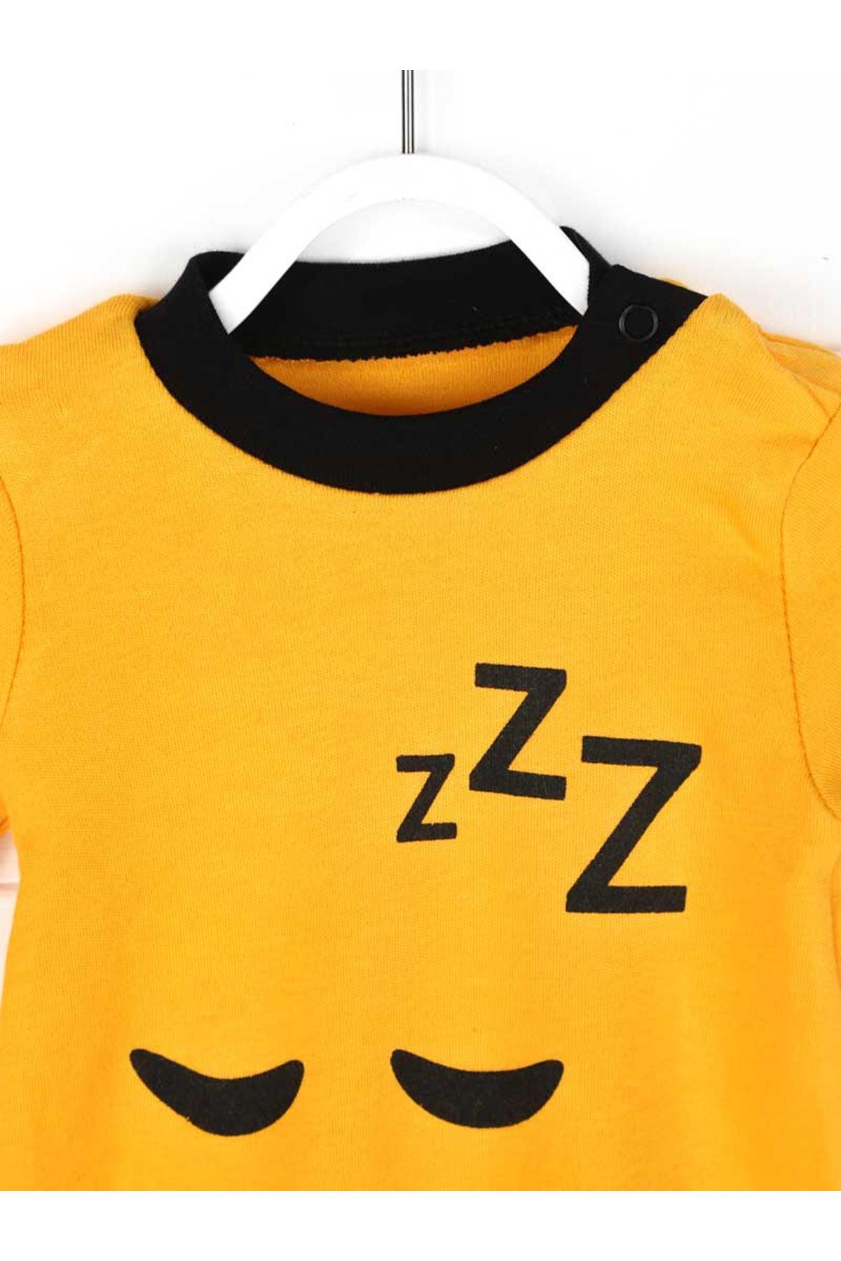 Sarı Erkek Bebek Badili 3 lü Tulum