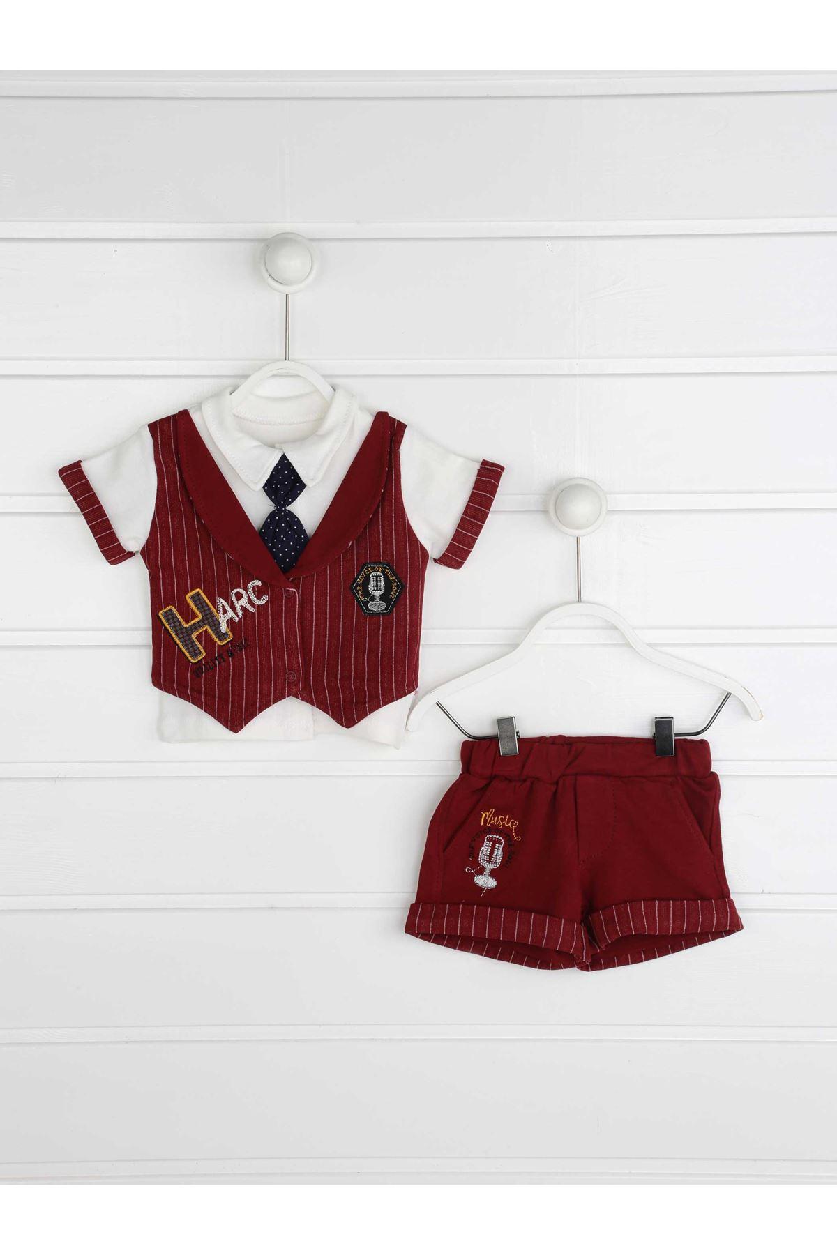 Bordo Yazlık Erkek Bebek 3 lü Takım