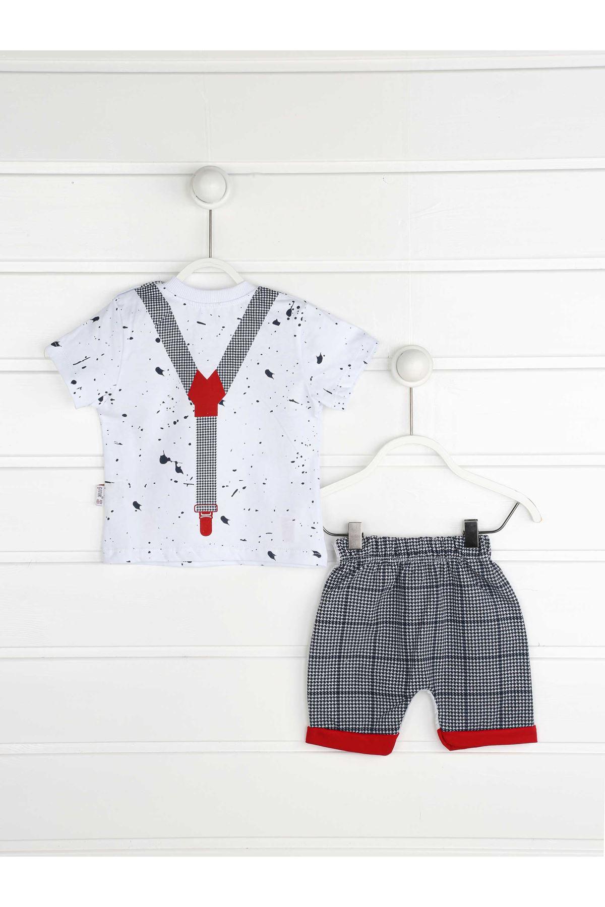 Kırmızı Yazlık Erkek Bebek Papyonlu 2 li Takım
