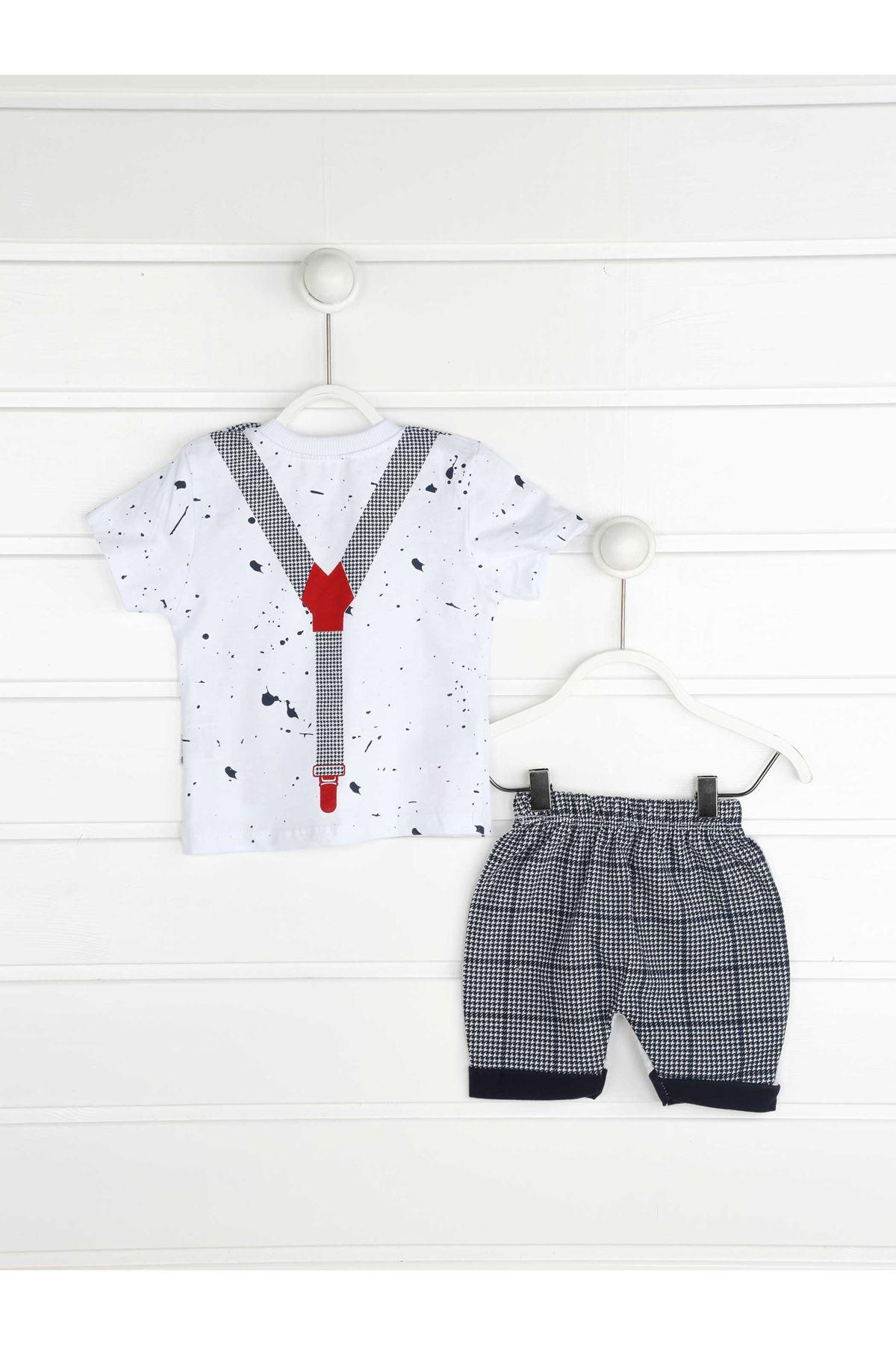 Lacivert Yazlık Erkek Bebek Papyonlu 2 li Takım