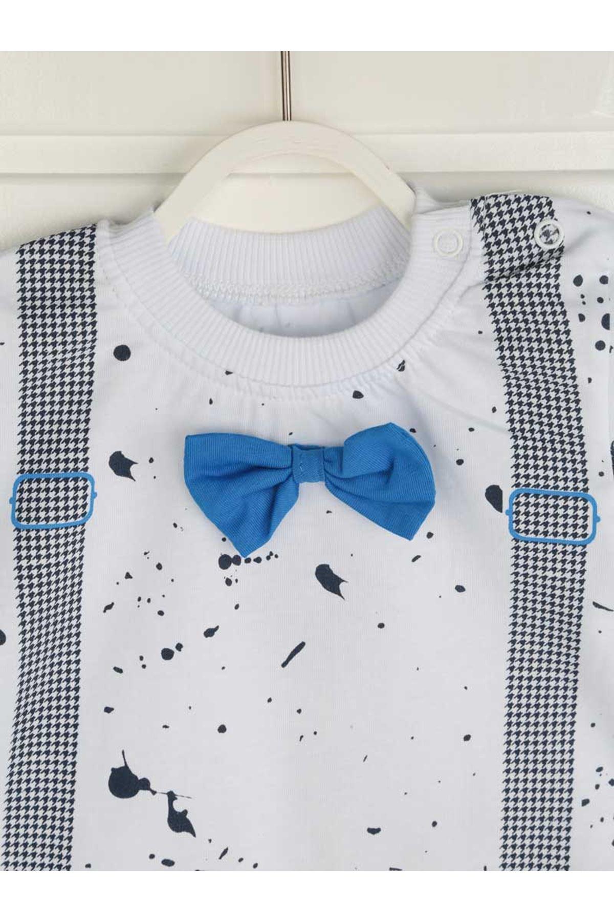 Mavi Yazlık Erkek Bebek Papyonlu 2 li Takım