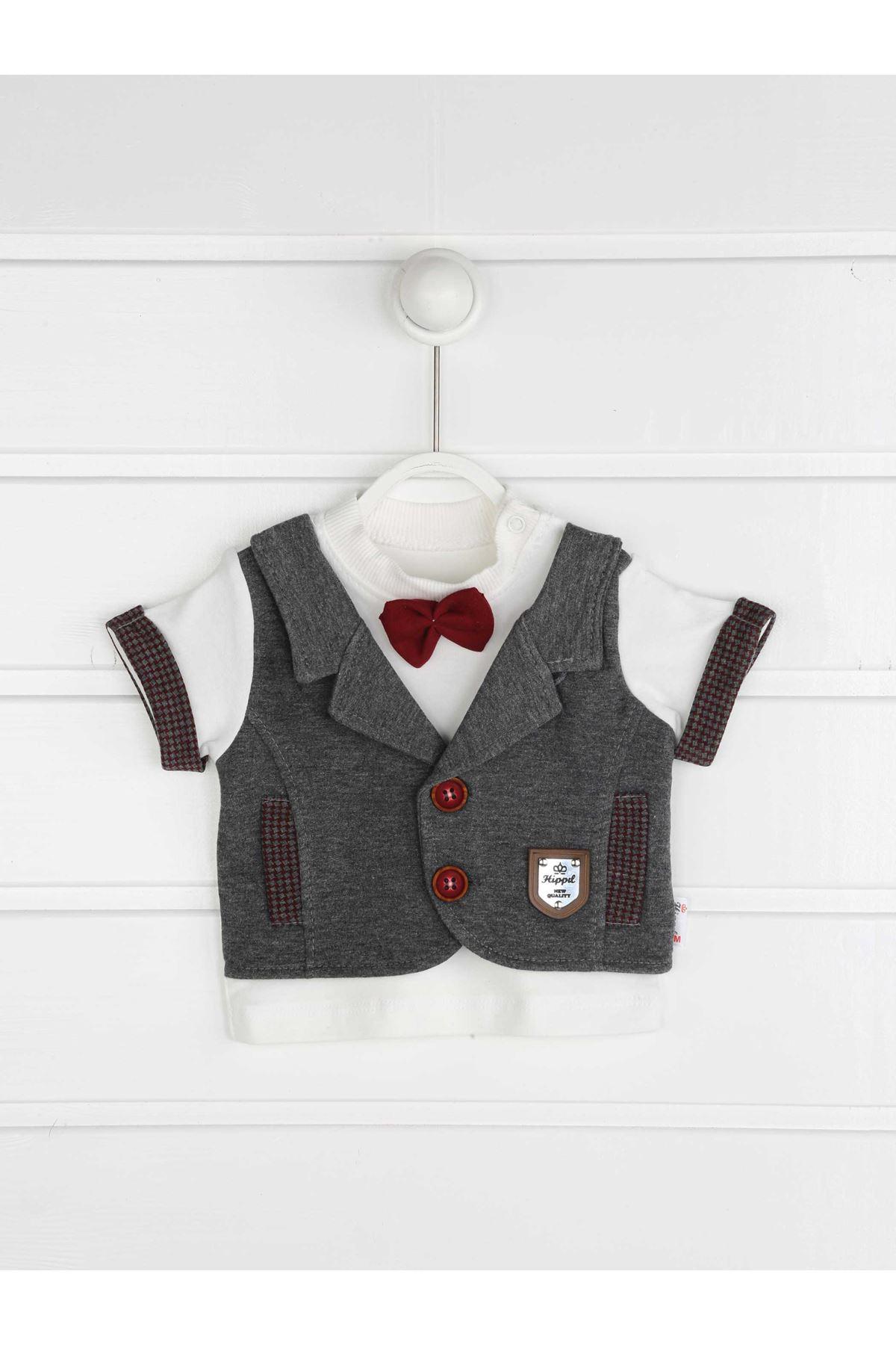 Gri Yazlık Erkek Bebek Papyonlu 2 li Takım