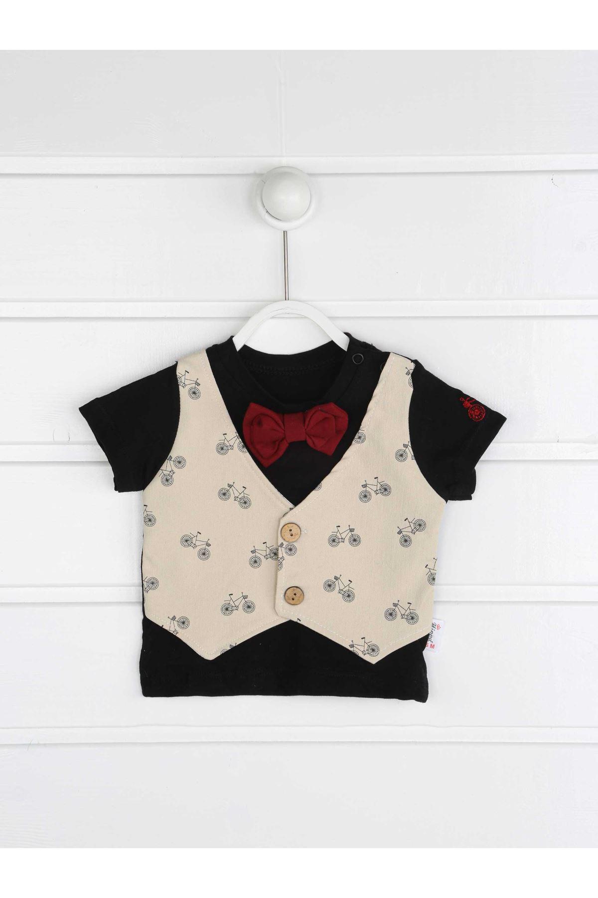 Krem Yazlık Erkek Bebek Papyonlu 2 li Takım