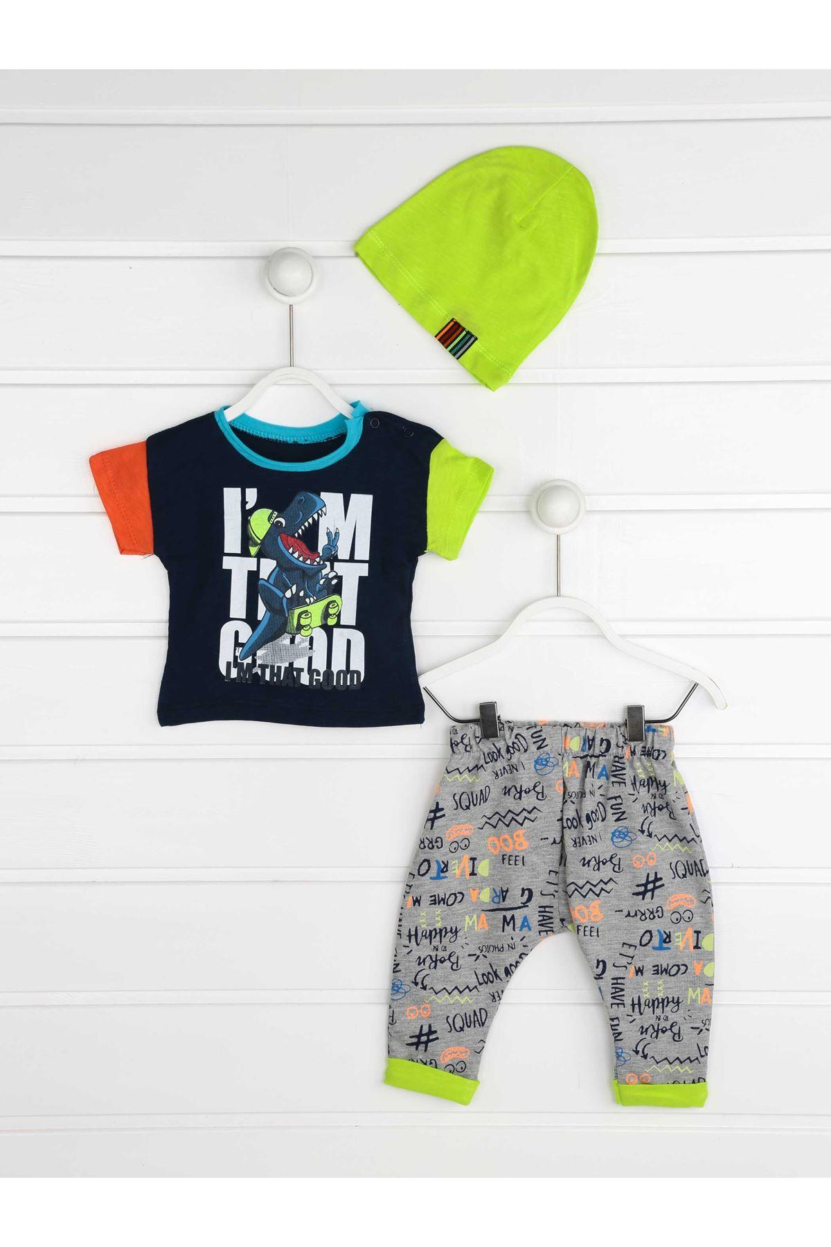 Gri Yazlık Erkek Bebek 3 lü Takım