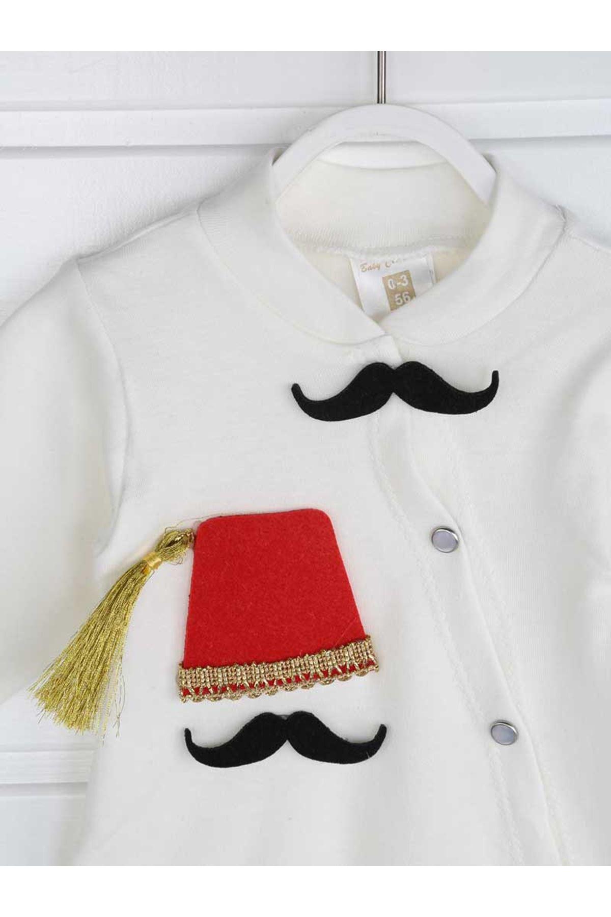 Beyaz Feslı Erkek Bebek 4 lü Tulum Seti