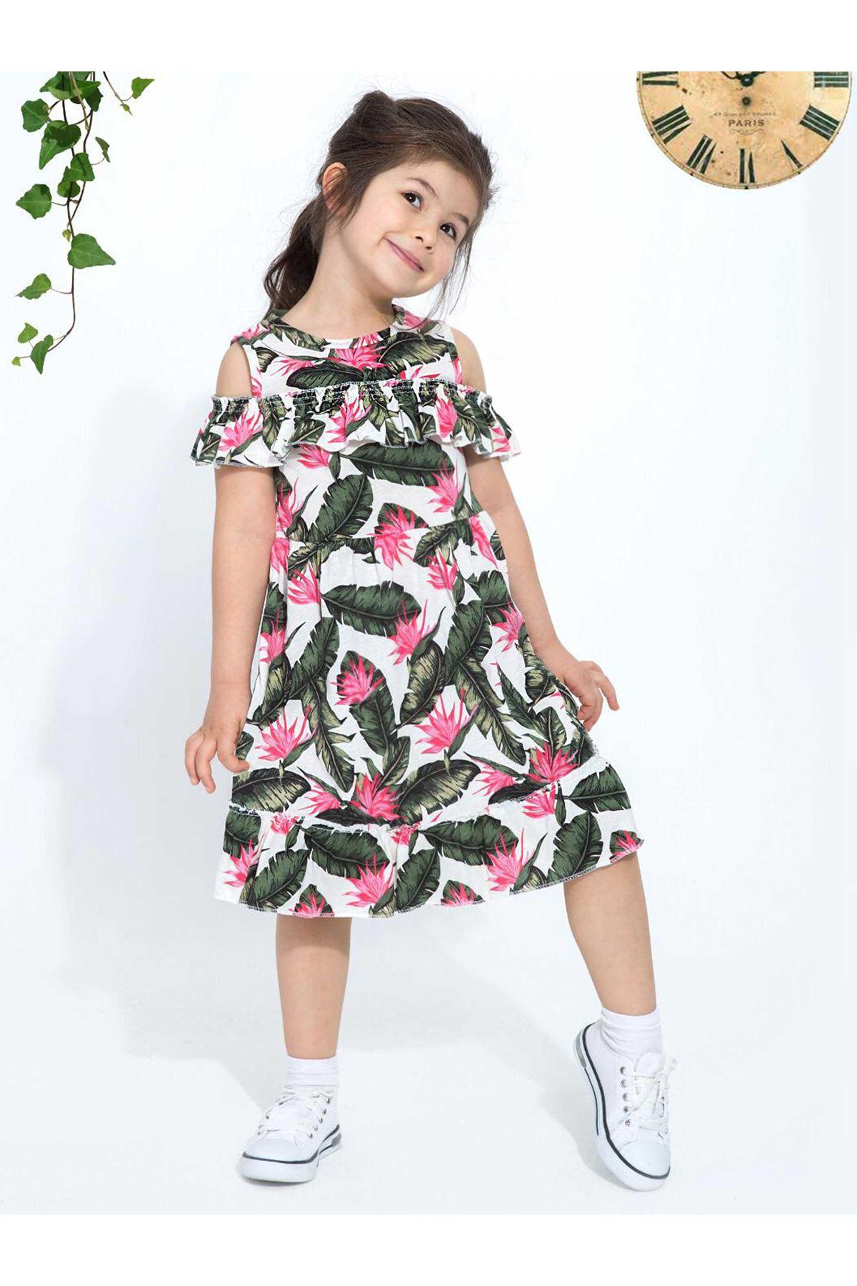 Yeşil Yazlık Kız Çocuk Elbise