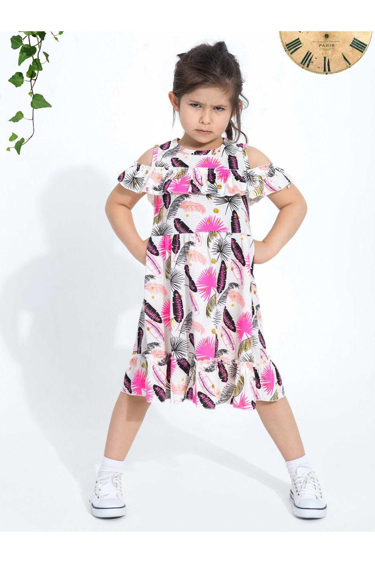 Fuşya Yazlık Kız Çocuk Elbise