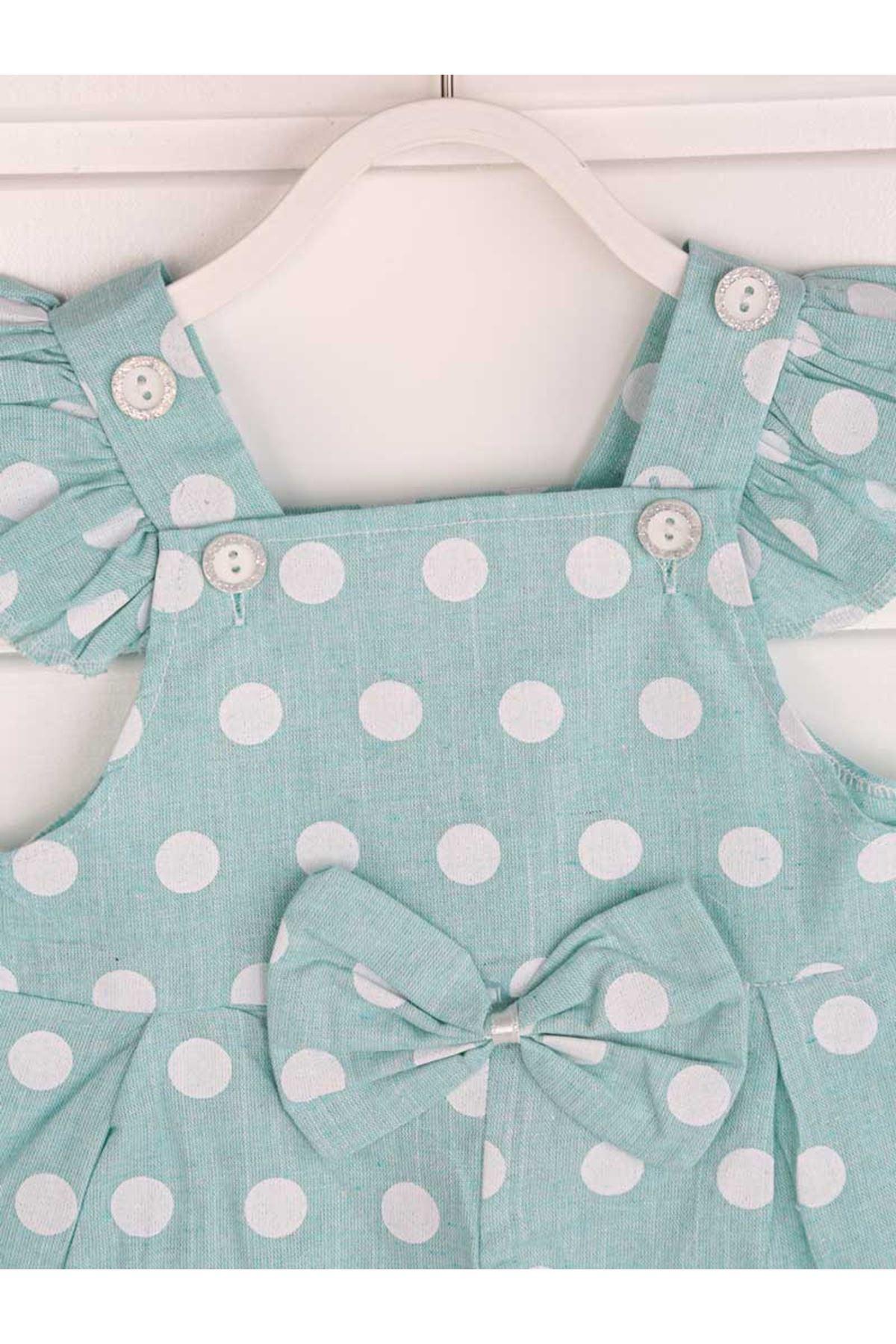 Yeşil Yazlık Kız Bebek Bandanalı Tulum