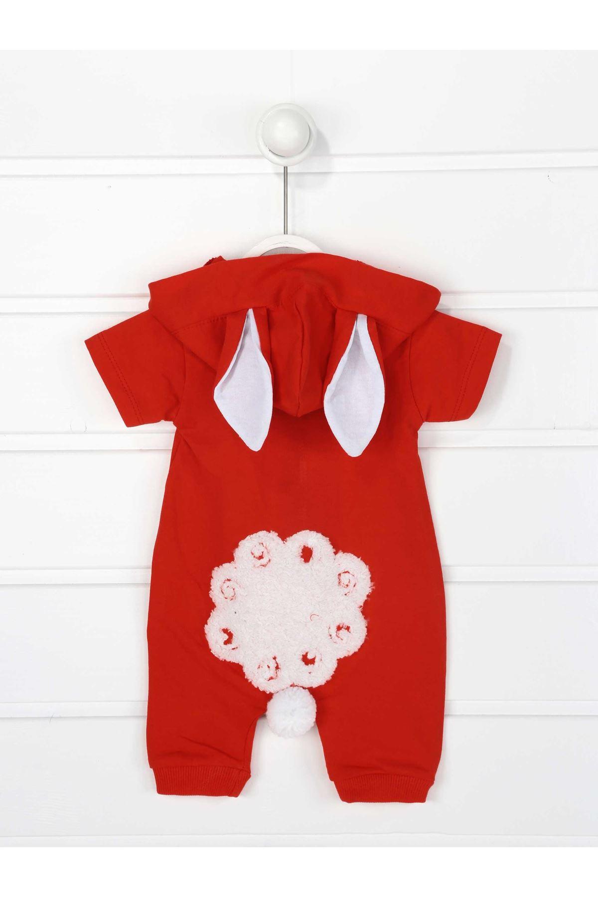 Kırmızı Yazlık Erkek Bebek Kuzu Kulaklı Tulum