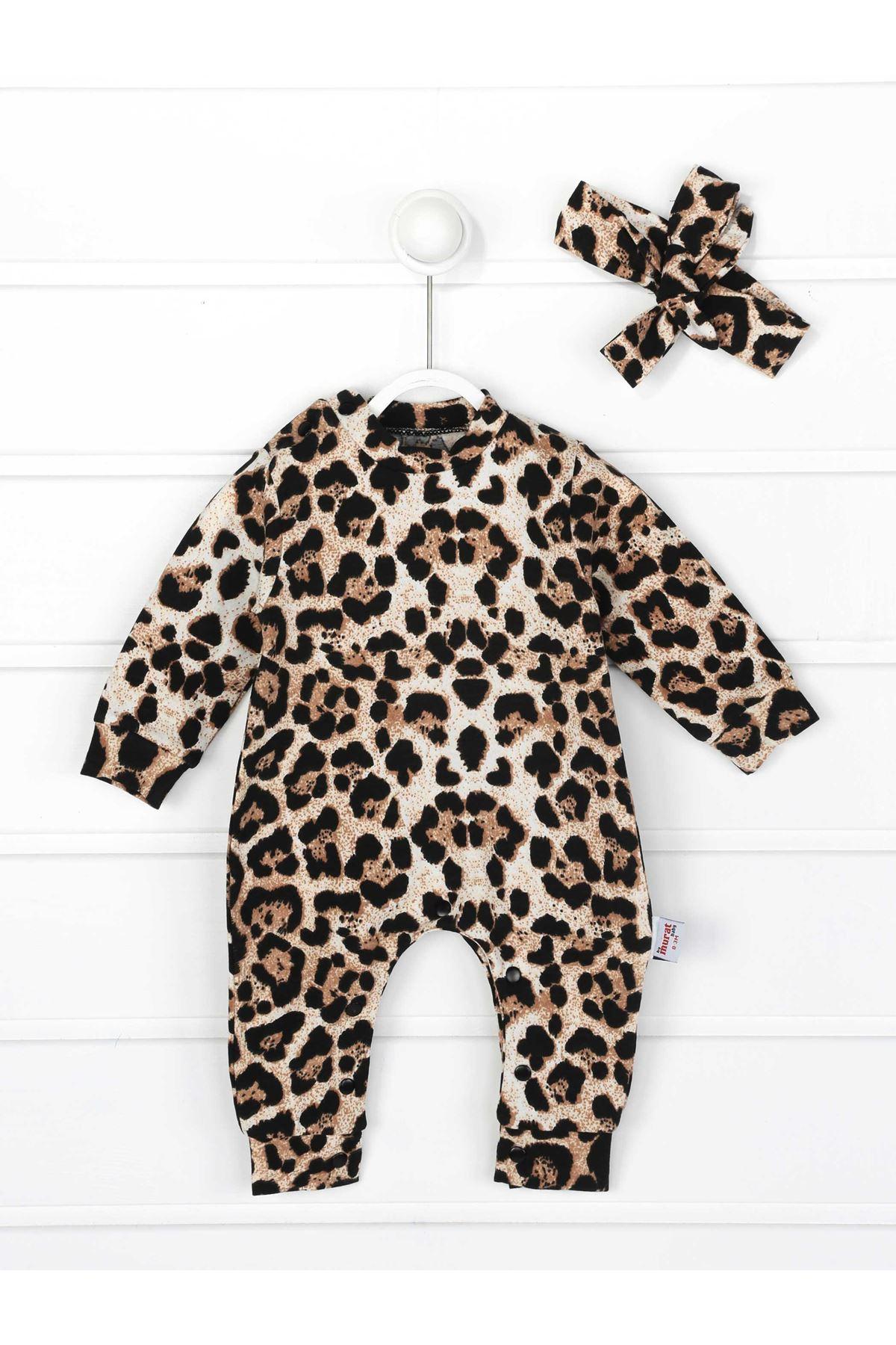 Leopar Kız Bebek Bandanalı Tulum