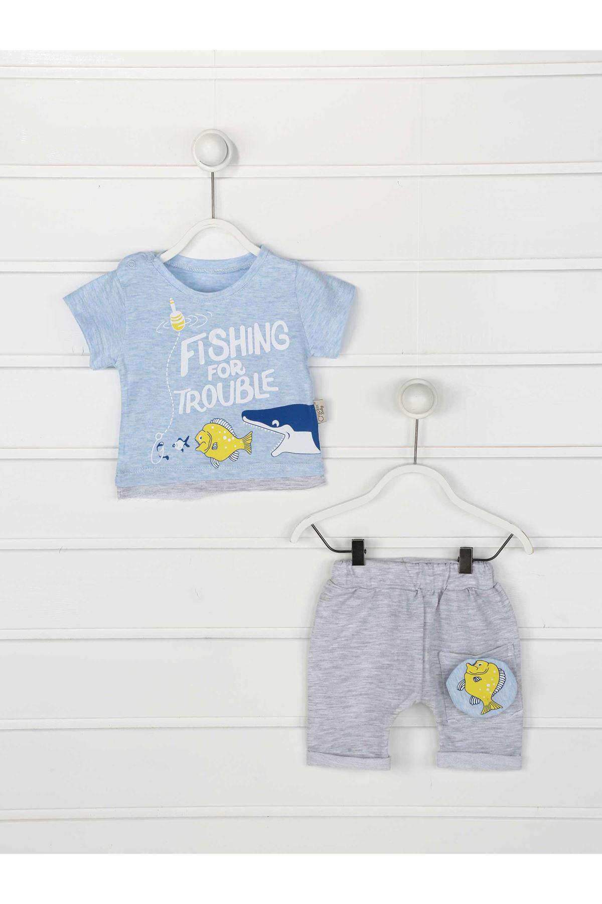 Mavi Yazlık Erkek Bebek 2 li Takım