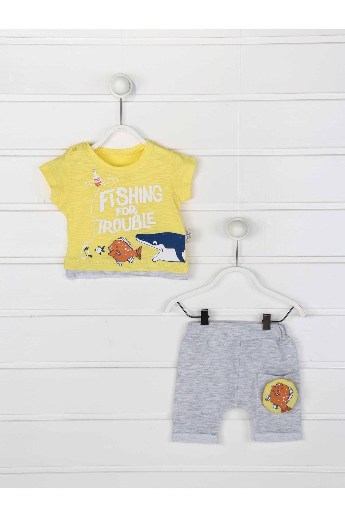 Sarı Yazlık Erkek Bebek 2 li Takım
