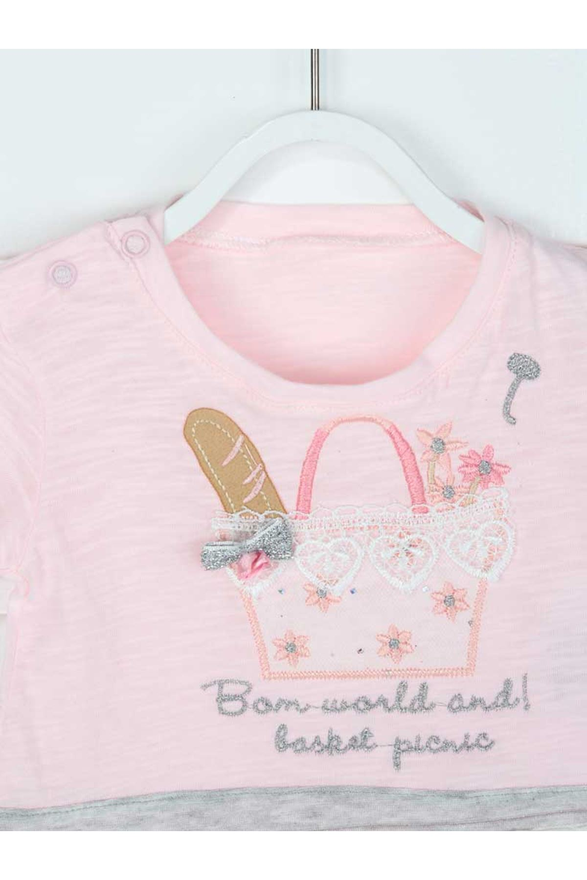 Gri Yazlık Kız Bebek 2 li Takım