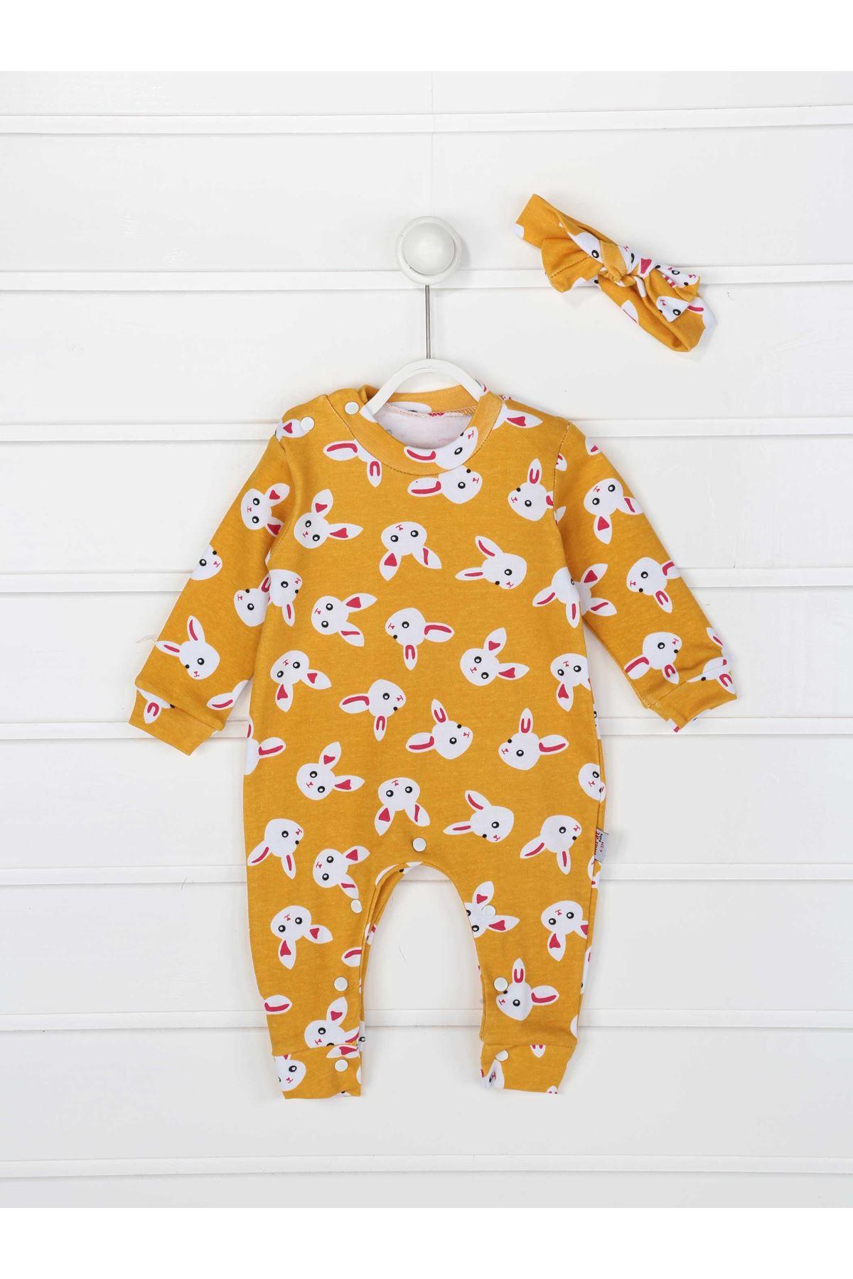 Sarı Tavşanlı Kız Bebek Bandanalı Tulum