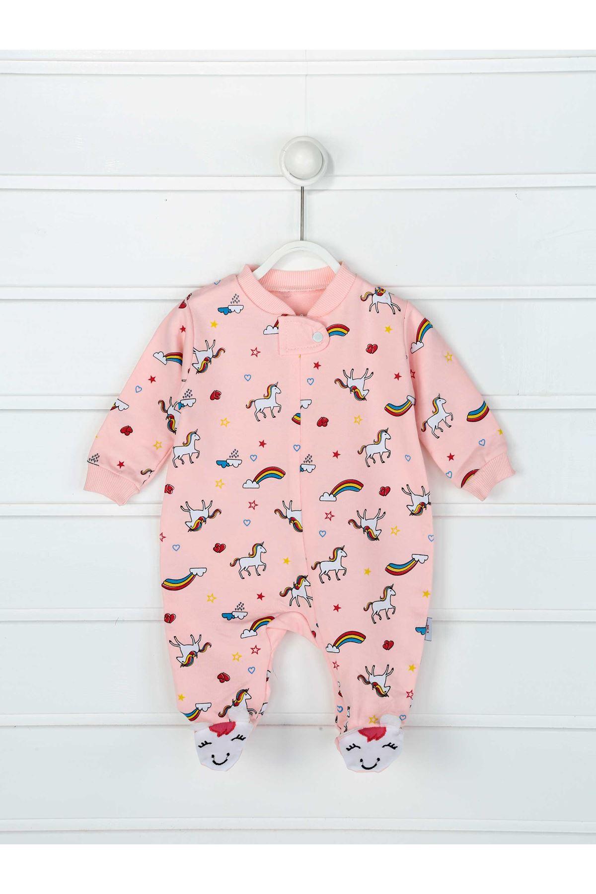 Pembe Unicorn Kız Bebek Tulum