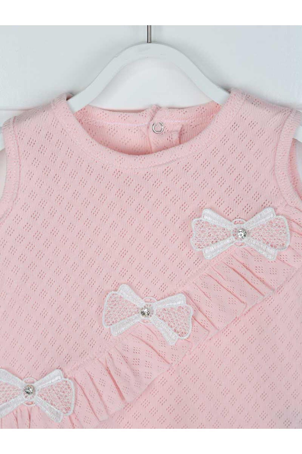 Pembe Yazlık Kız Bebek Külot ve Elbise