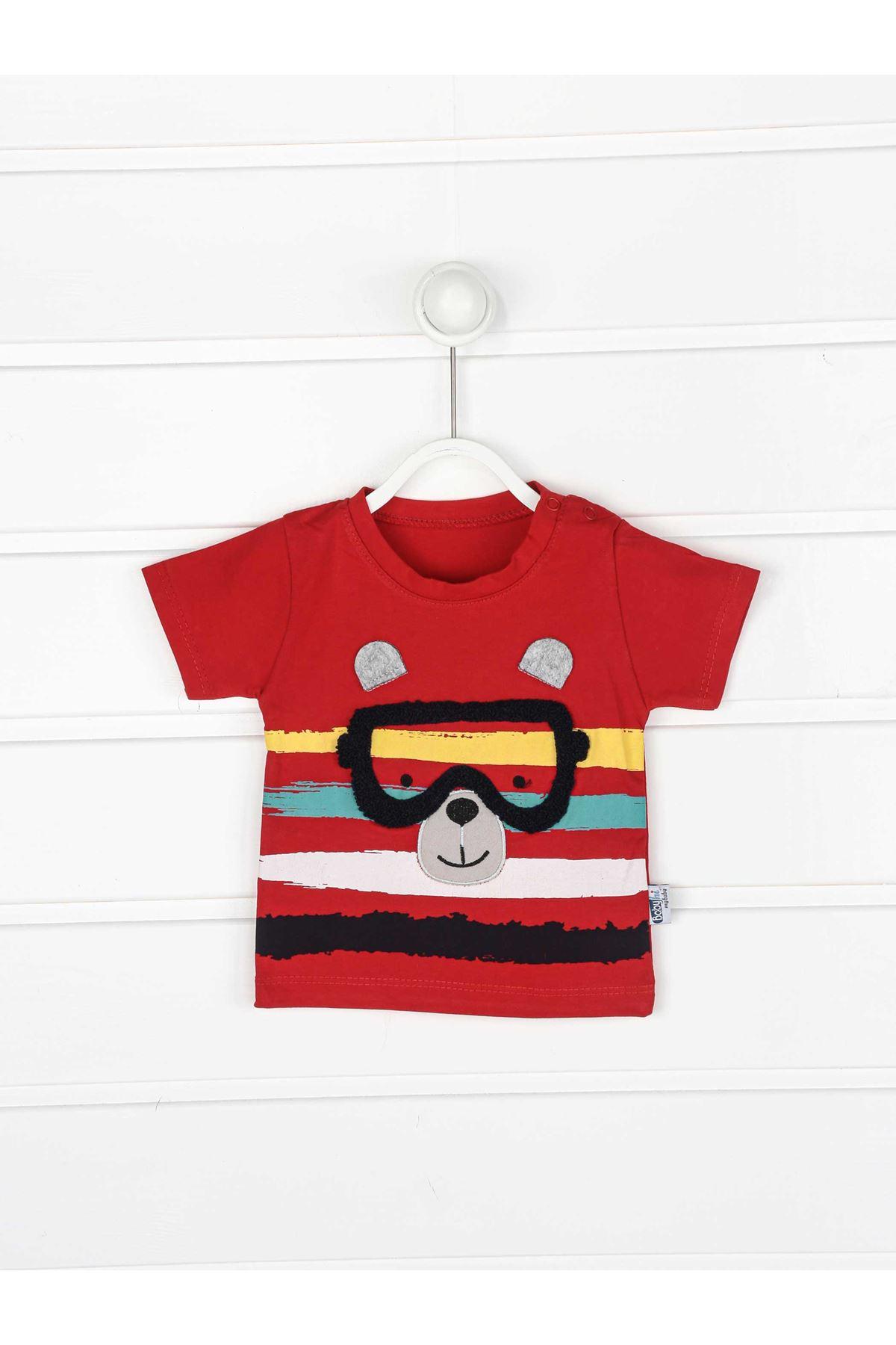 Kırmızı Erkek Bebek Şortlu Takım