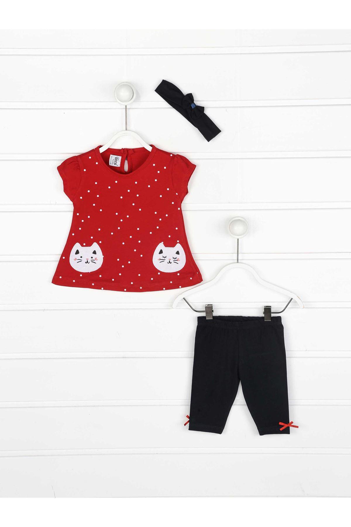 Kırmızı Yazlık Kız Bebek 3 lü Takım
