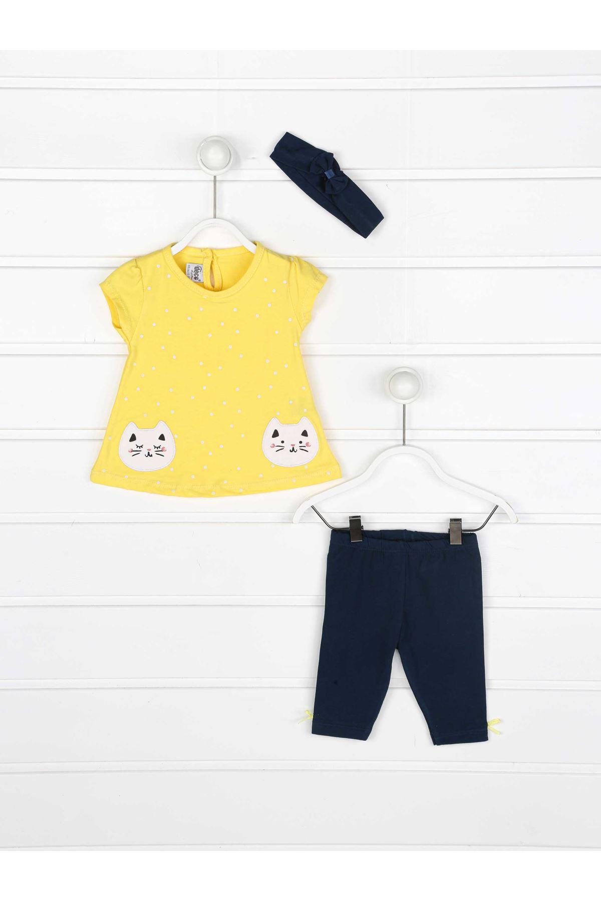 Sarı Yazlık Kız Çocuk 3 lü Takım