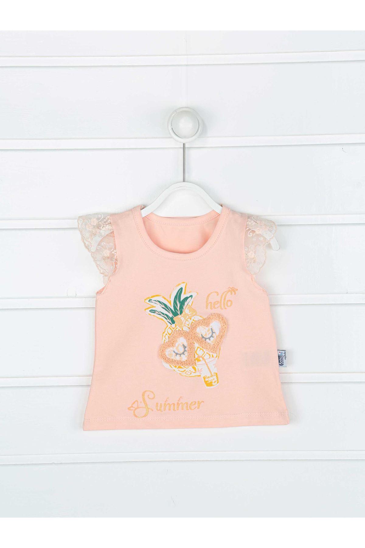 Pudra Yazlık Kız Bebek Taytlı Takım