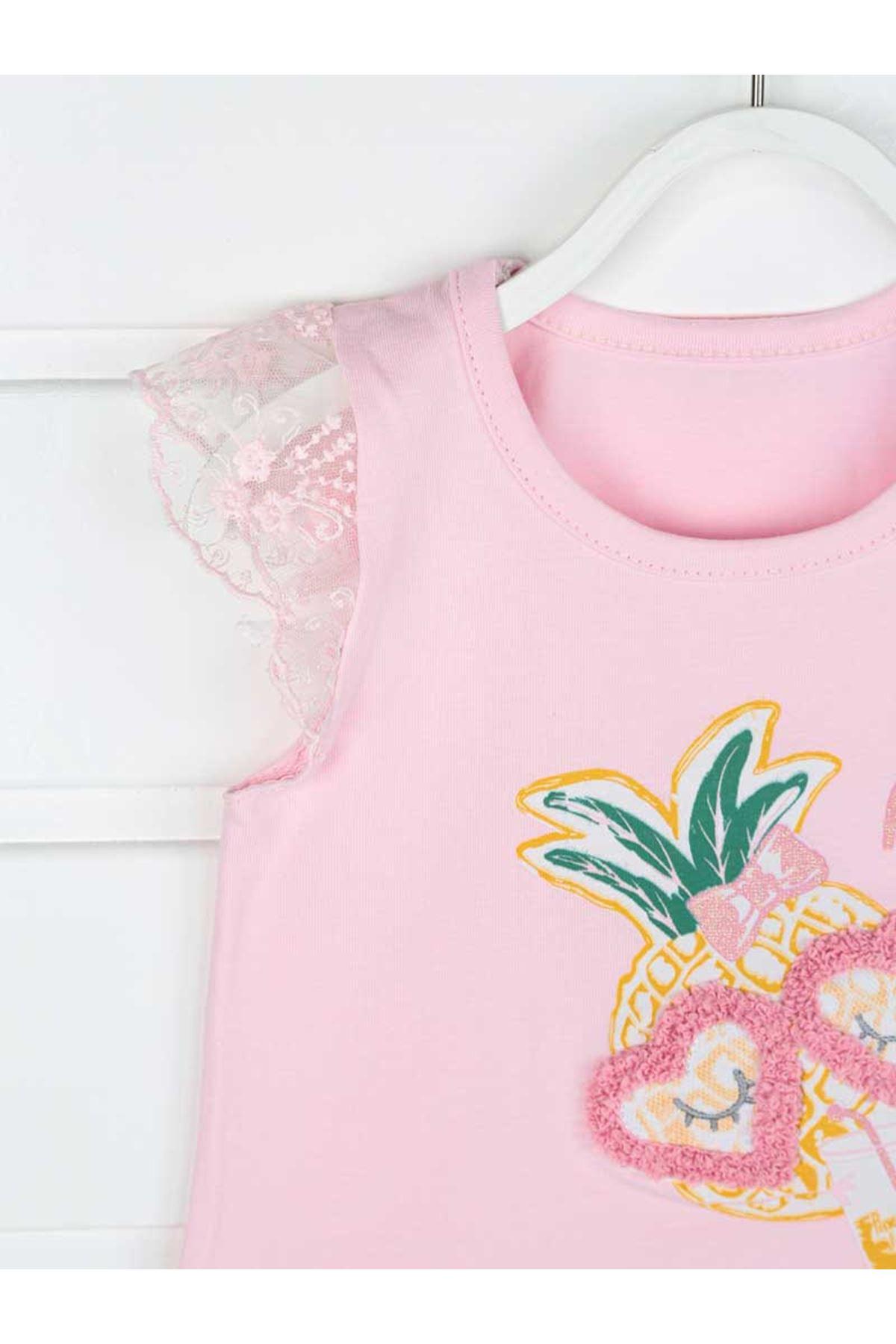 Pembe Yazlık Kız Bebek Taytlı Takım